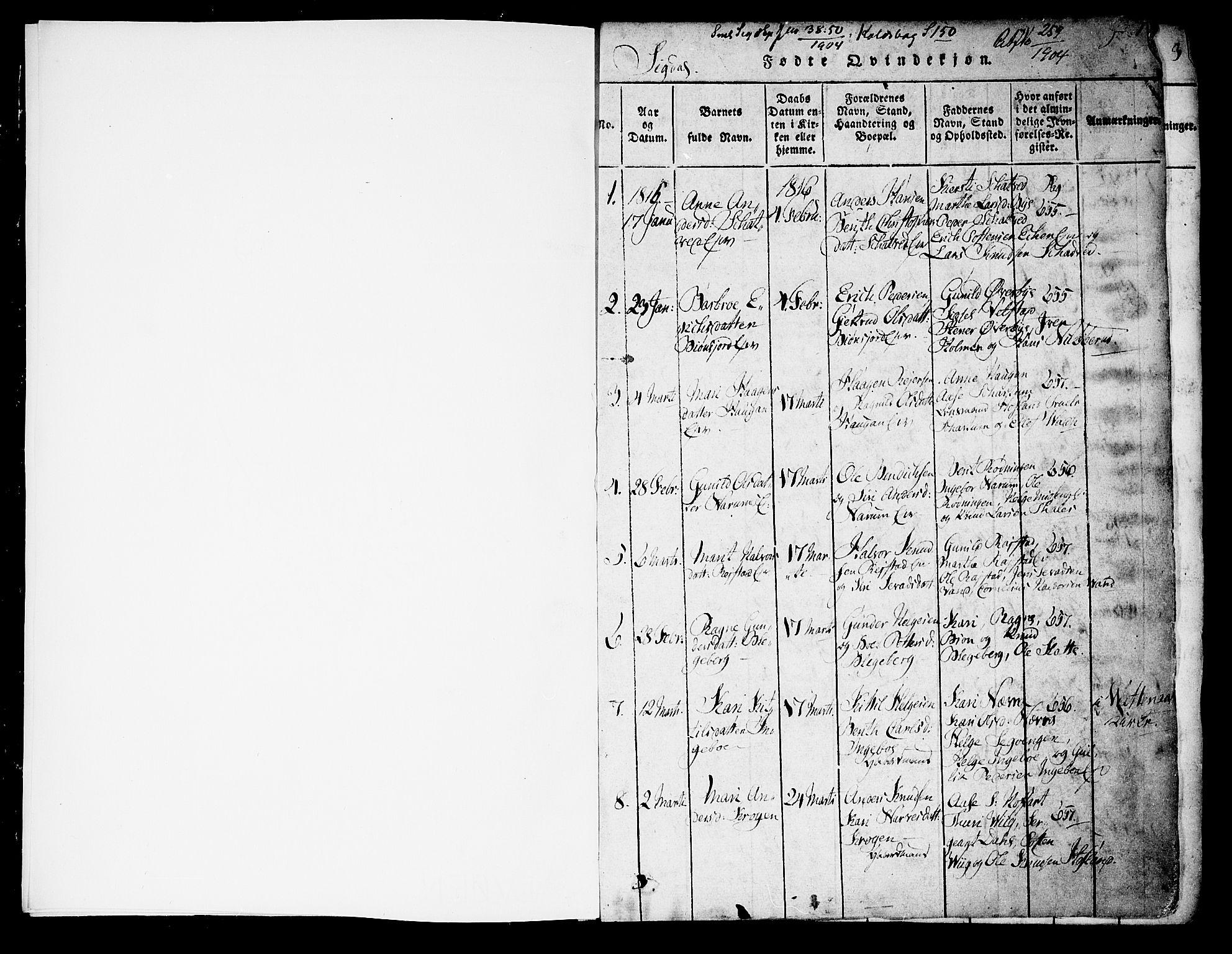 SAKO, Sigdal kirkebøker, F/Fa/L0005: Ministerialbok nr. I 5 /1, 1815-1829, s. 0-1