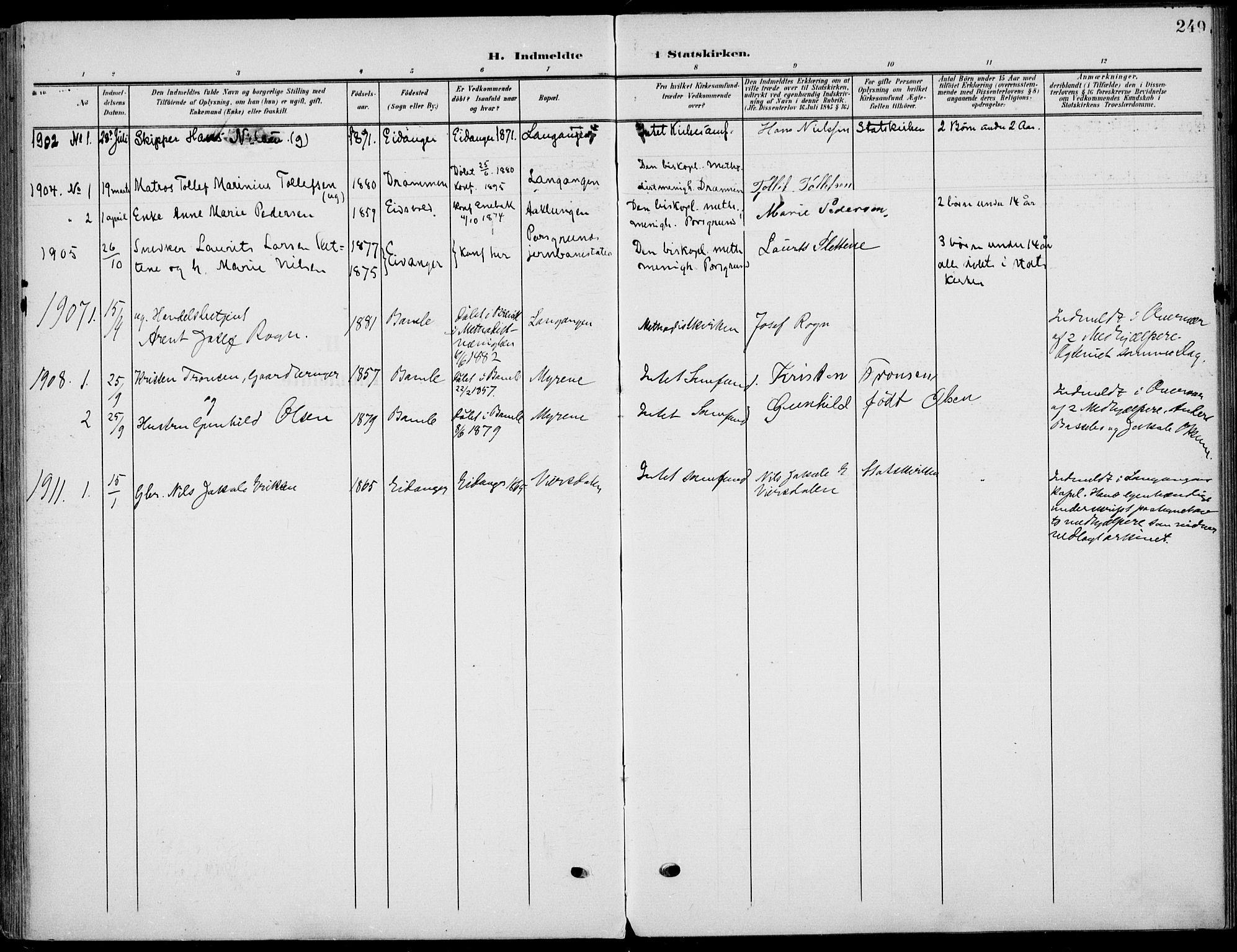 SAKO, Eidanger kirkebøker, F/Fa/L0013: Ministerialbok nr. 13, 1900-1913, s. 249