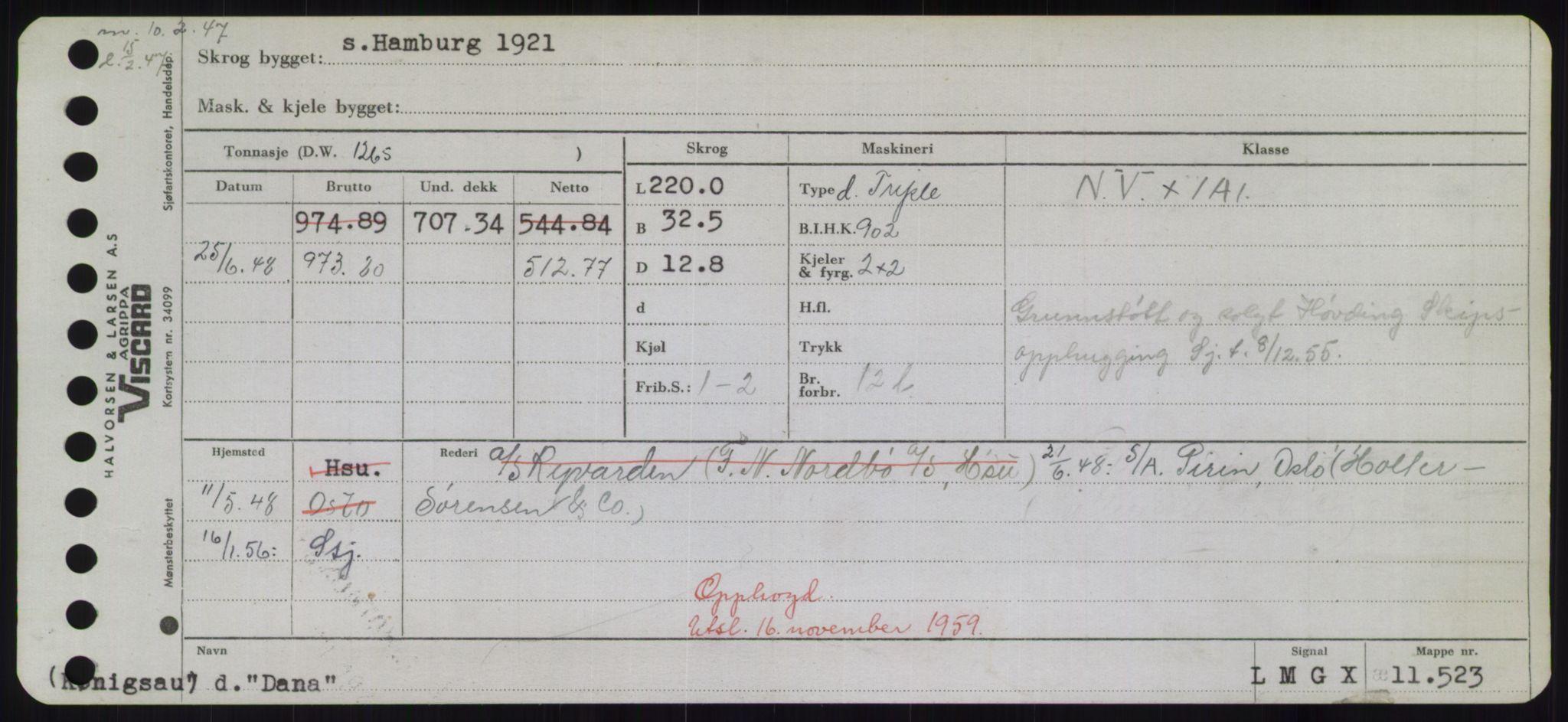 RA, Sjøfartsdirektoratet med forløpere, Skipsmålingen, H/Hd/L0008: Fartøy, C-D, s. 397