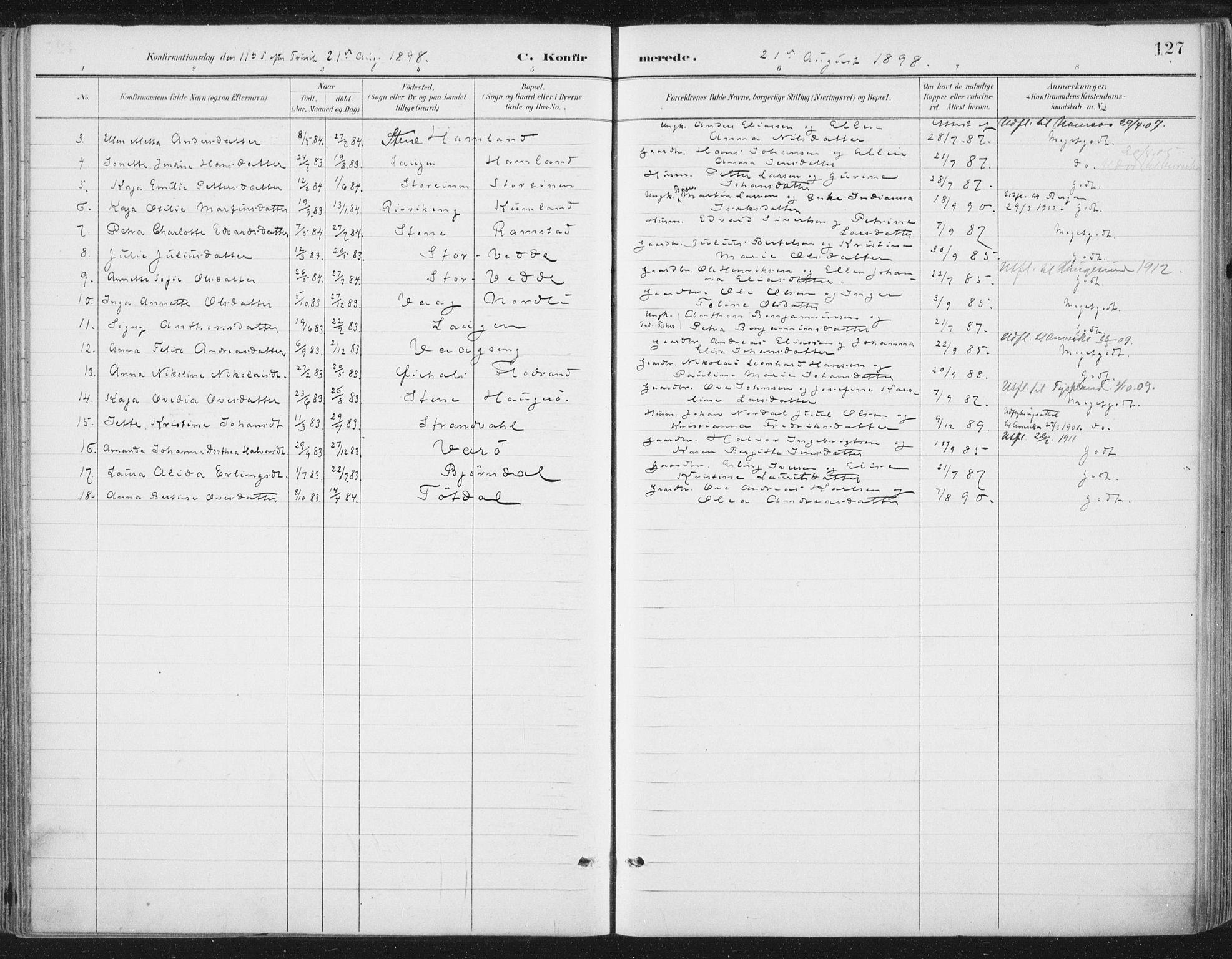 SAT, Ministerialprotokoller, klokkerbøker og fødselsregistre - Nord-Trøndelag, 784/L0673: Ministerialbok nr. 784A08, 1888-1899, s. 127