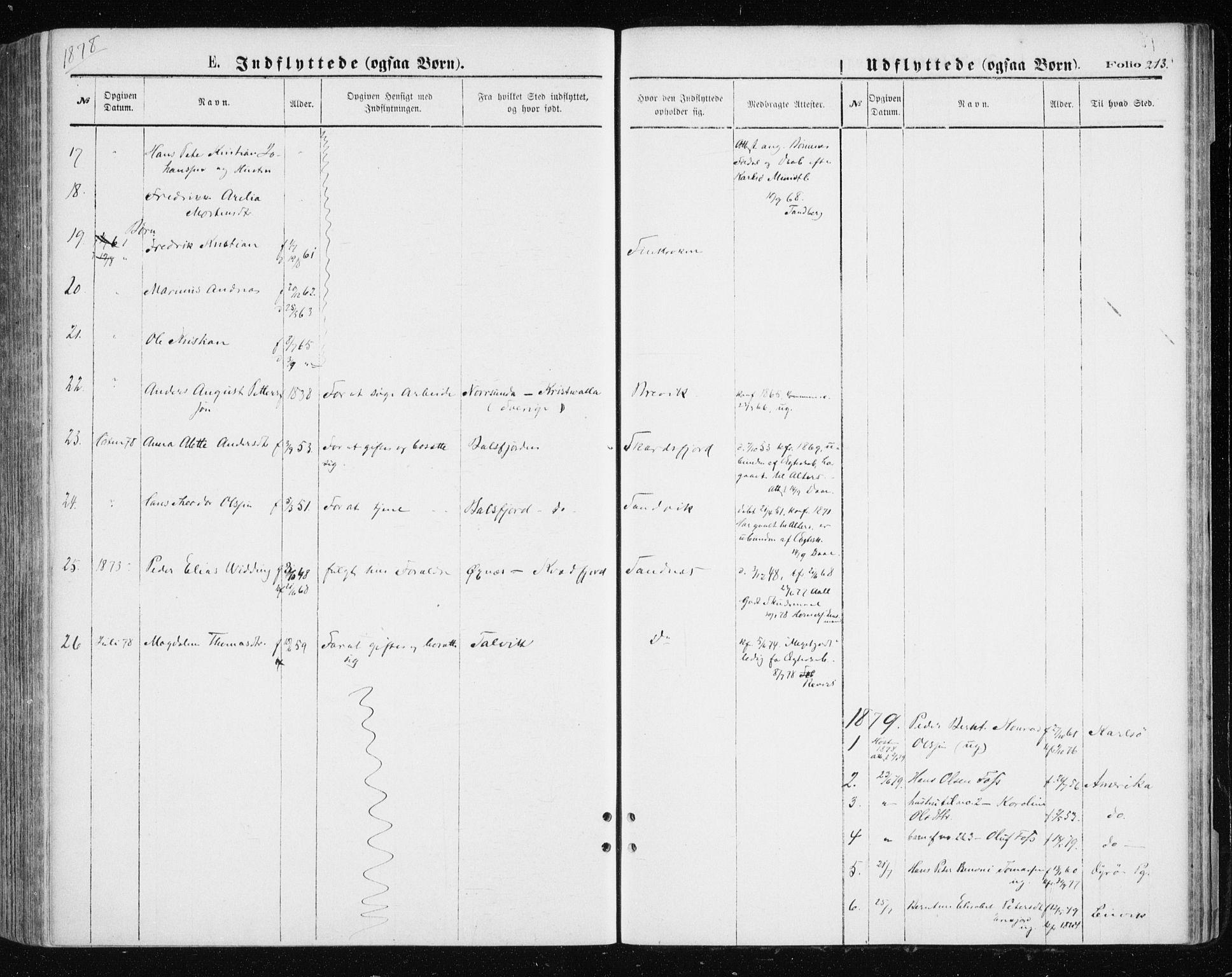 SATØ, Tromsøysund sokneprestkontor, G/Ga/L0003kirke: Ministerialbok nr. 3, 1875-1880, s. 213