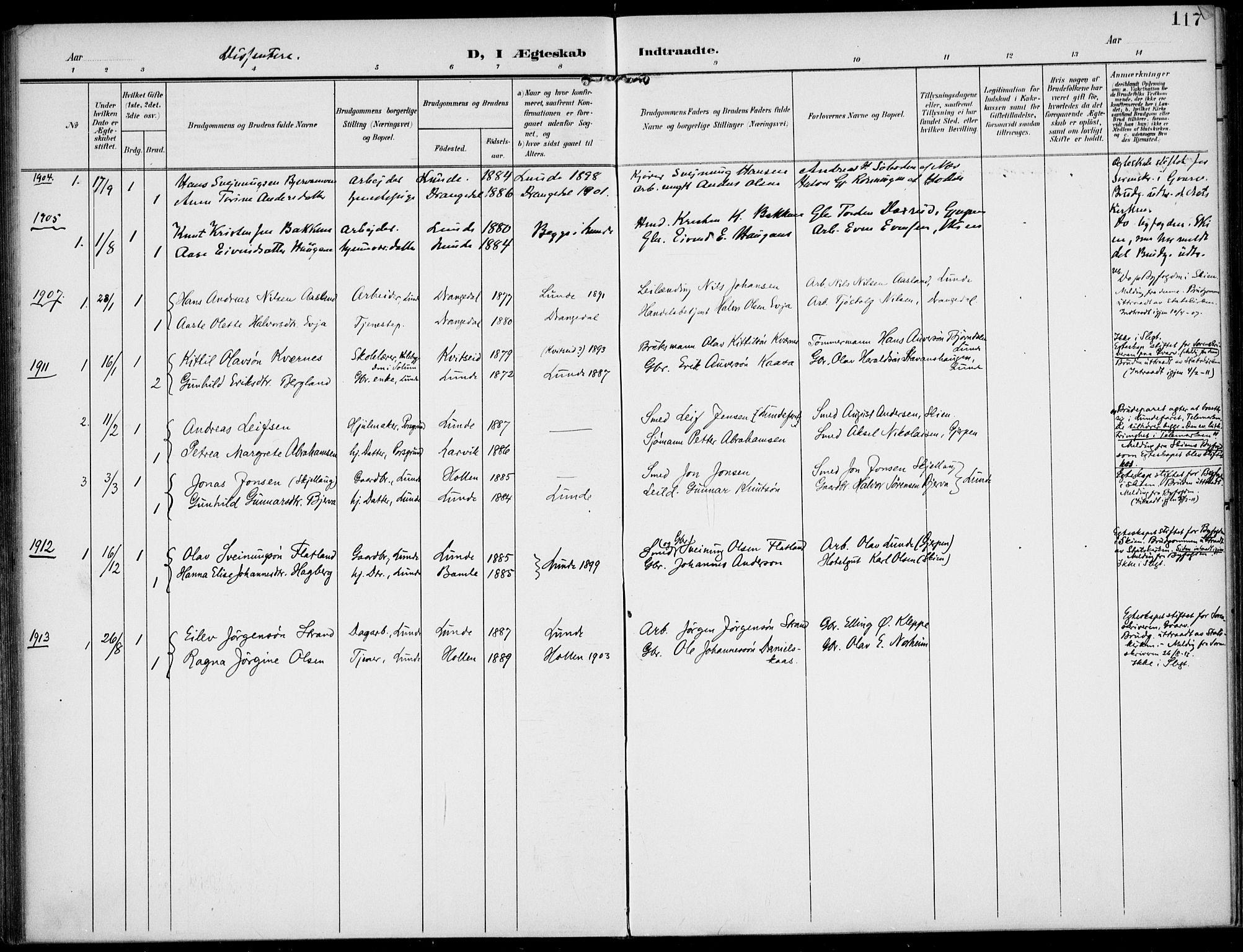 SAKO, Lunde kirkebøker, F/Fa/L0004: Ministerialbok nr. I 4, 1902-1913, s. 117
