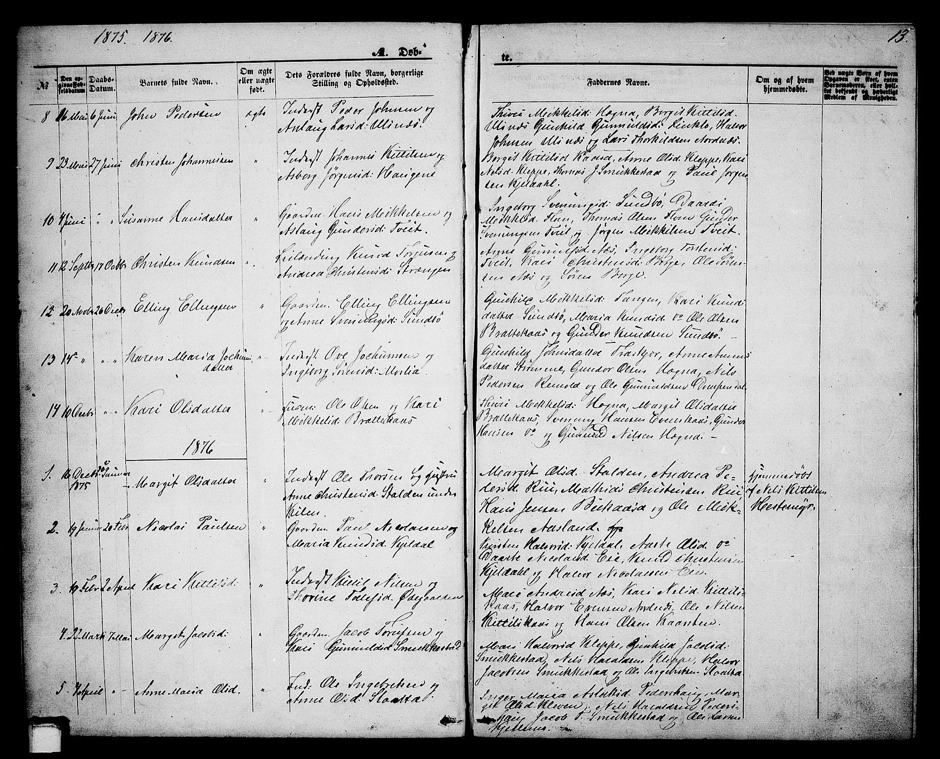 SAKO, Lunde kirkebøker, G/Gb/L0001: Klokkerbok nr. II 1, 1866-1887, s. 13