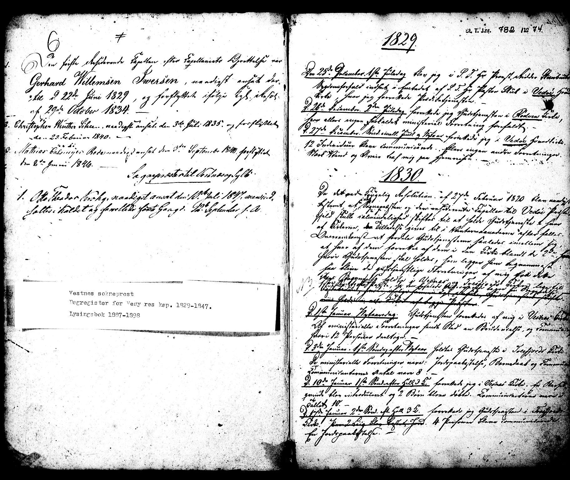 SAT, Ministerialprotokoller, klokkerbøker og fødselsregistre - Møre og Romsdal, 547/L0609: Residerende kapellans bok nr. 547B01, 1829-1898, s. 0-1