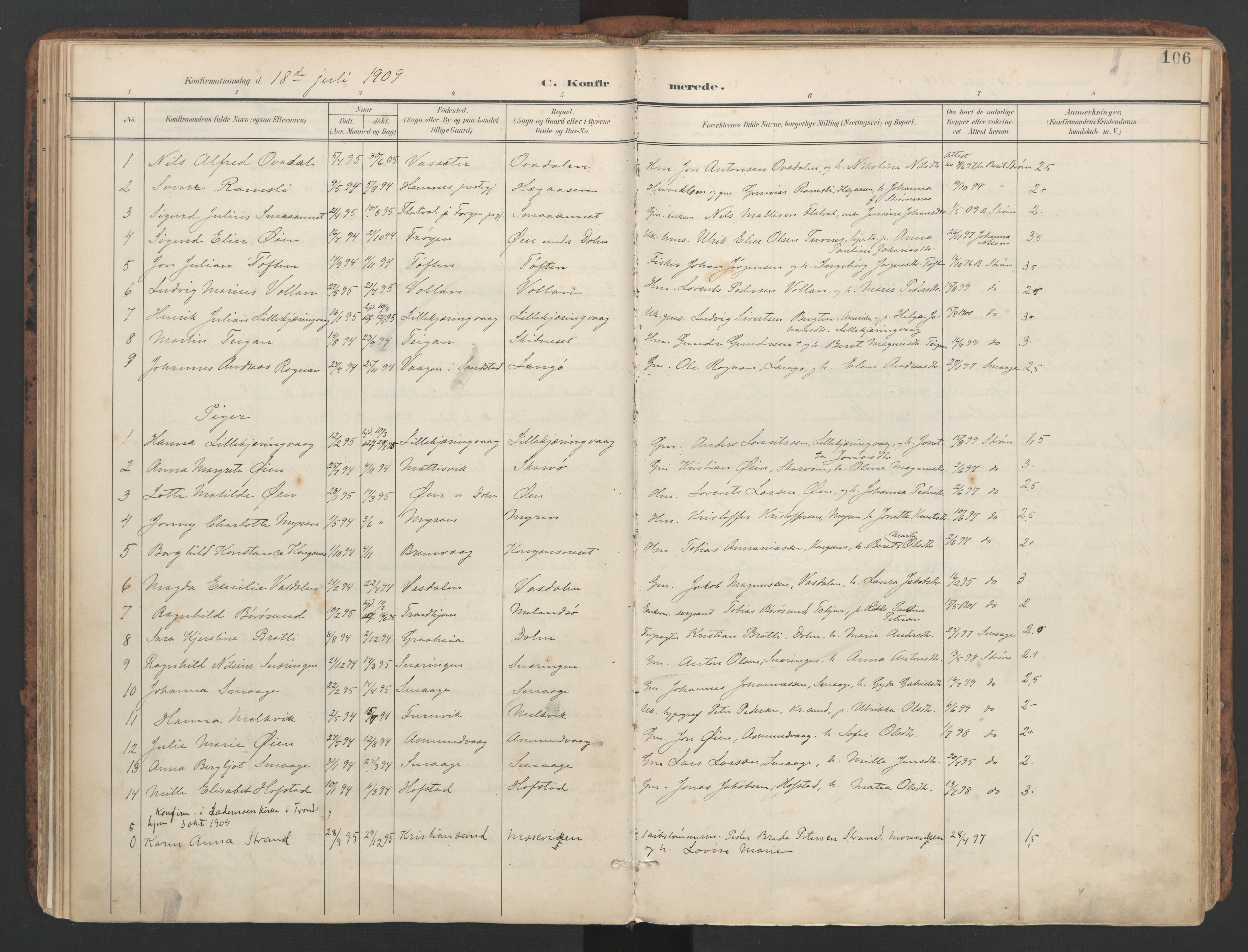 SAT, Ministerialprotokoller, klokkerbøker og fødselsregistre - Sør-Trøndelag, 634/L0537: Ministerialbok nr. 634A13, 1896-1922, s. 106