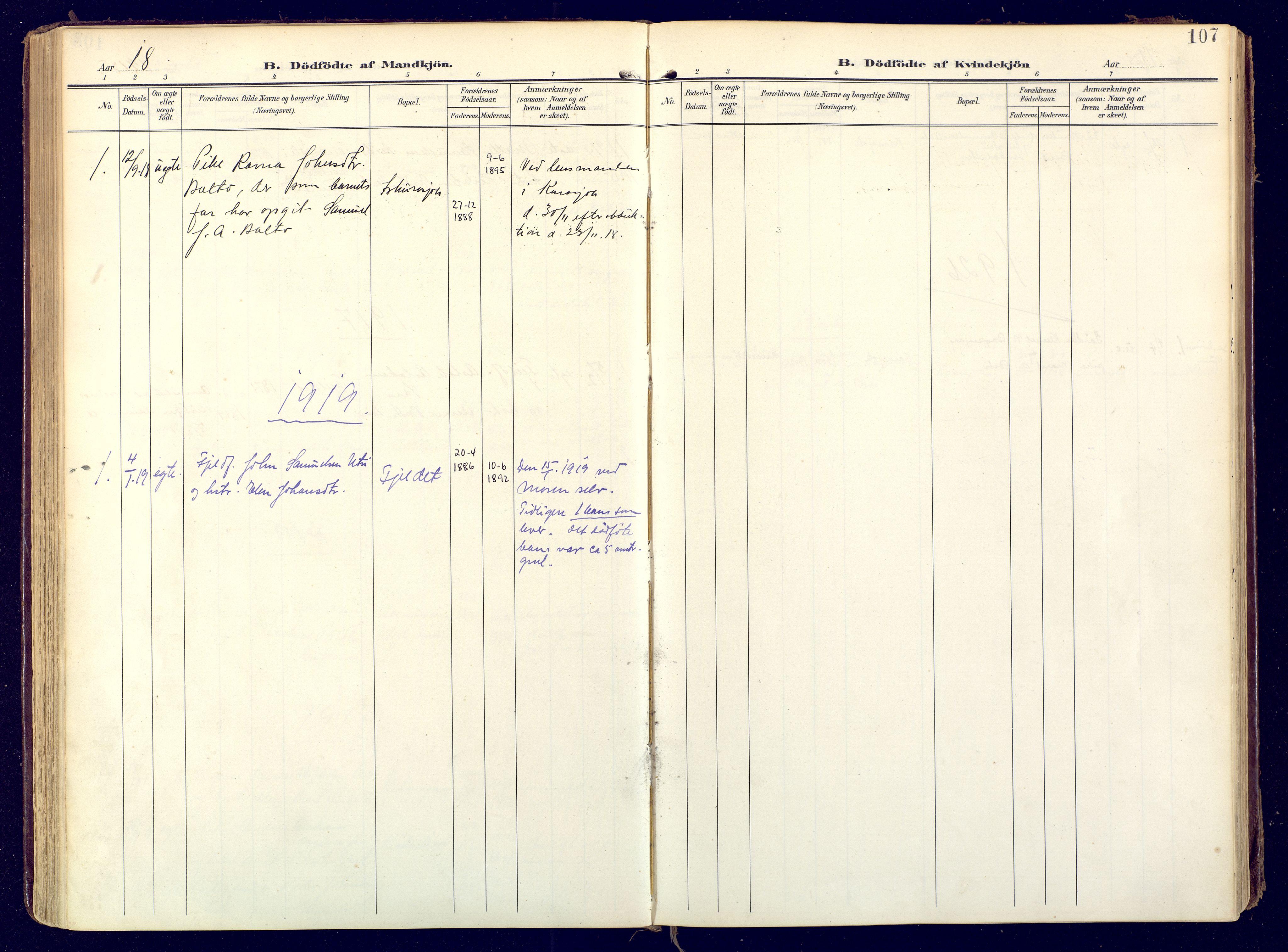 SATØ, Karasjok sokneprestkontor, H/Ha: Ministerialbok nr. 3, 1907-1926, s. 107