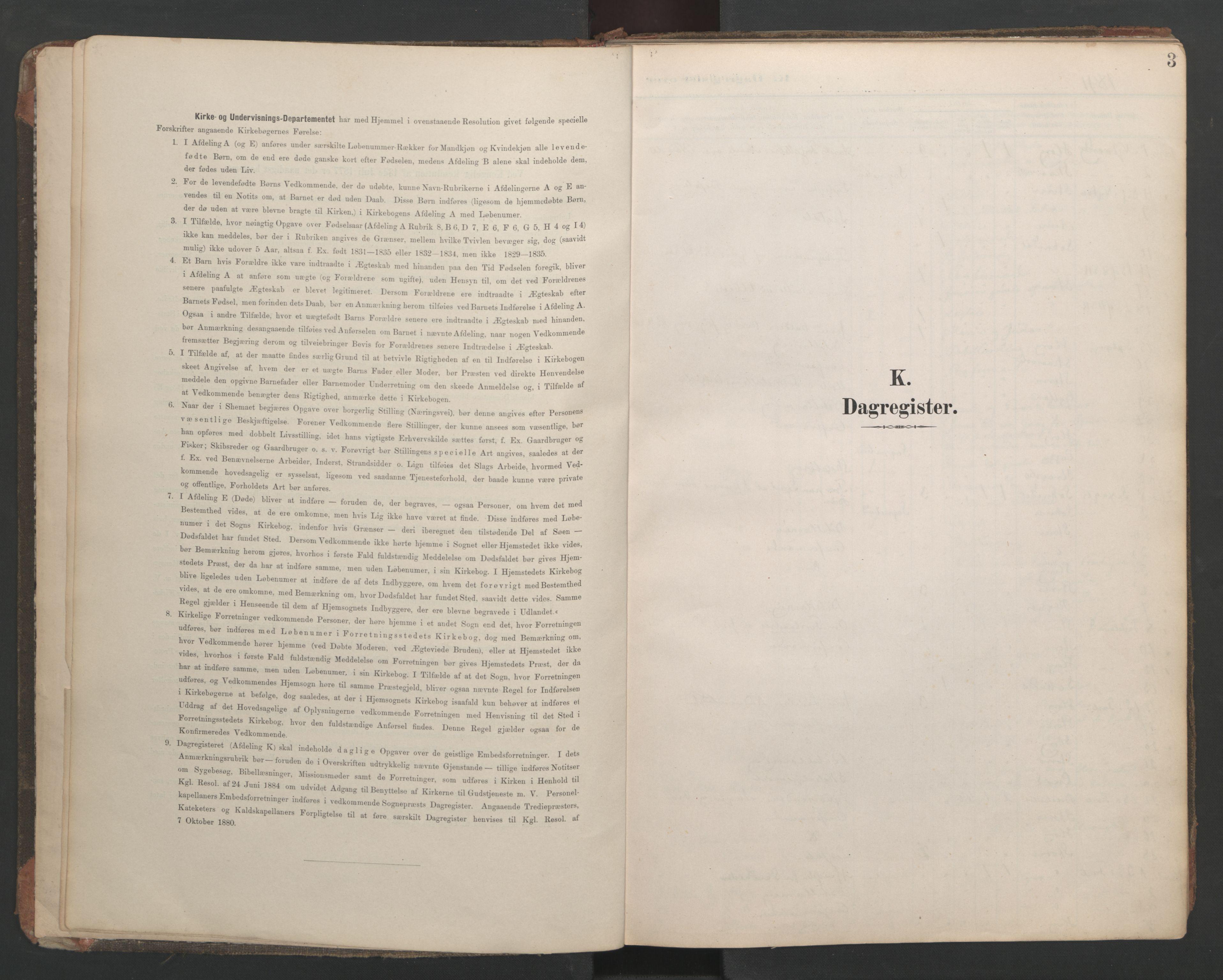 SAT, Ministerialprotokoller, klokkerbøker og fødselsregistre - Sør-Trøndelag, 687/L1005: Dagregister nr. 687A11, 1891-1912, s. 3