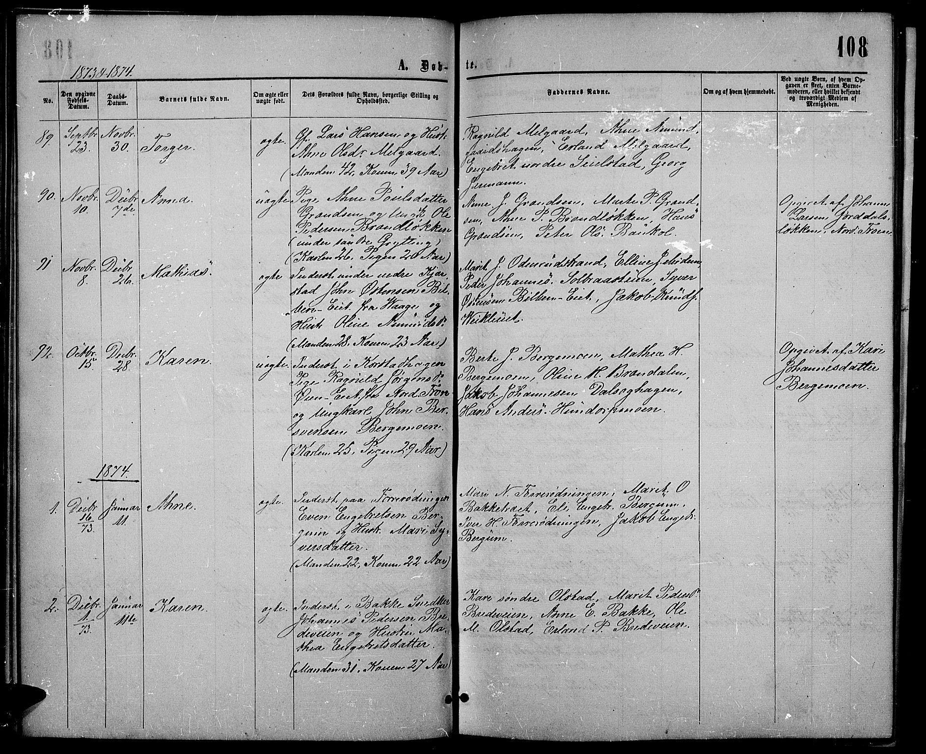 SAH, Sør-Fron prestekontor, H/Ha/Hab/L0002: Klokkerbok nr. 2, 1864-1883, s. 108
