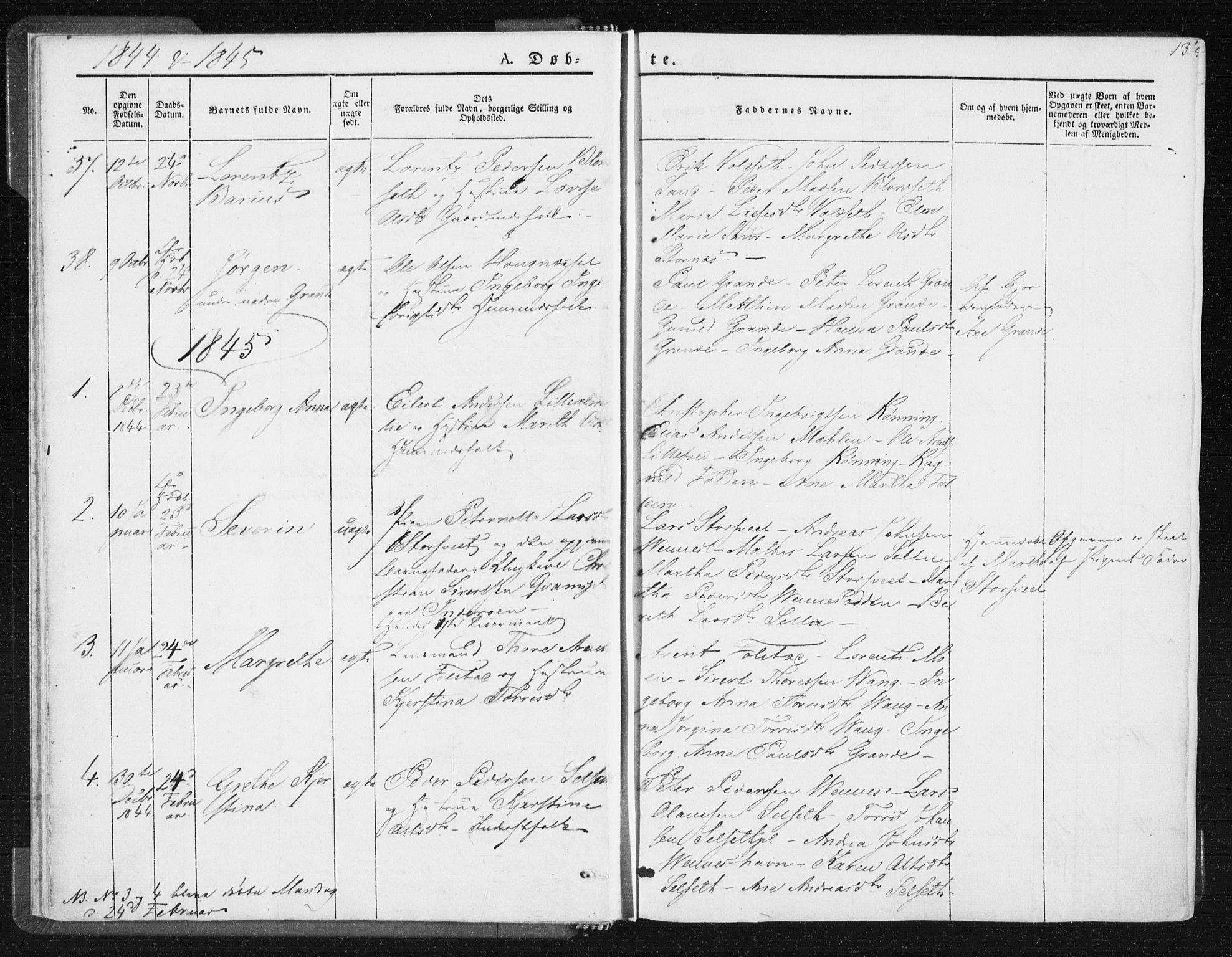 SAT, Ministerialprotokoller, klokkerbøker og fødselsregistre - Nord-Trøndelag, 744/L0418: Ministerialbok nr. 744A02, 1843-1866, s. 13