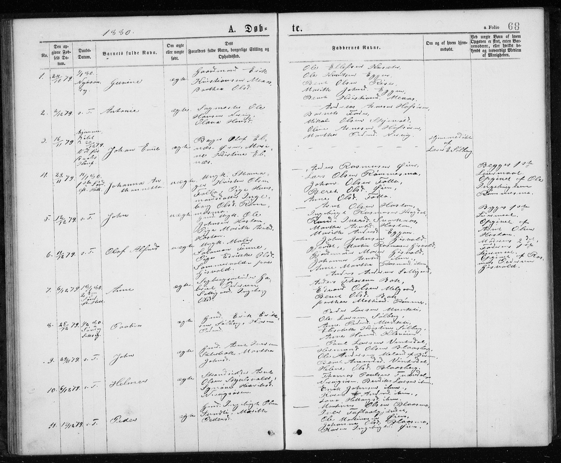 SAT, Ministerialprotokoller, klokkerbøker og fødselsregistre - Sør-Trøndelag, 668/L0817: Klokkerbok nr. 668C06, 1873-1884, s. 68