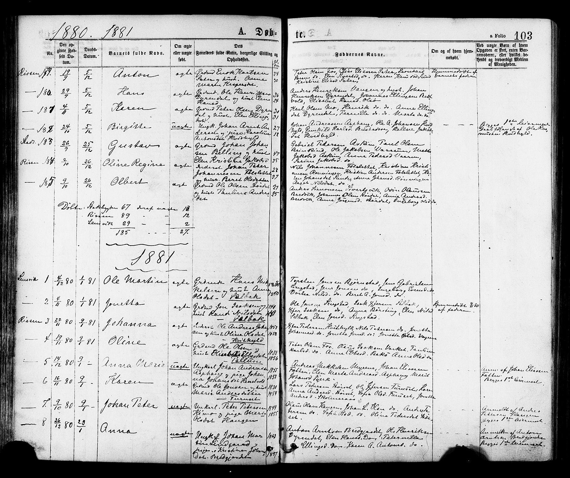 SAT, Ministerialprotokoller, klokkerbøker og fødselsregistre - Sør-Trøndelag, 646/L0613: Ministerialbok nr. 646A11, 1870-1884, s. 103