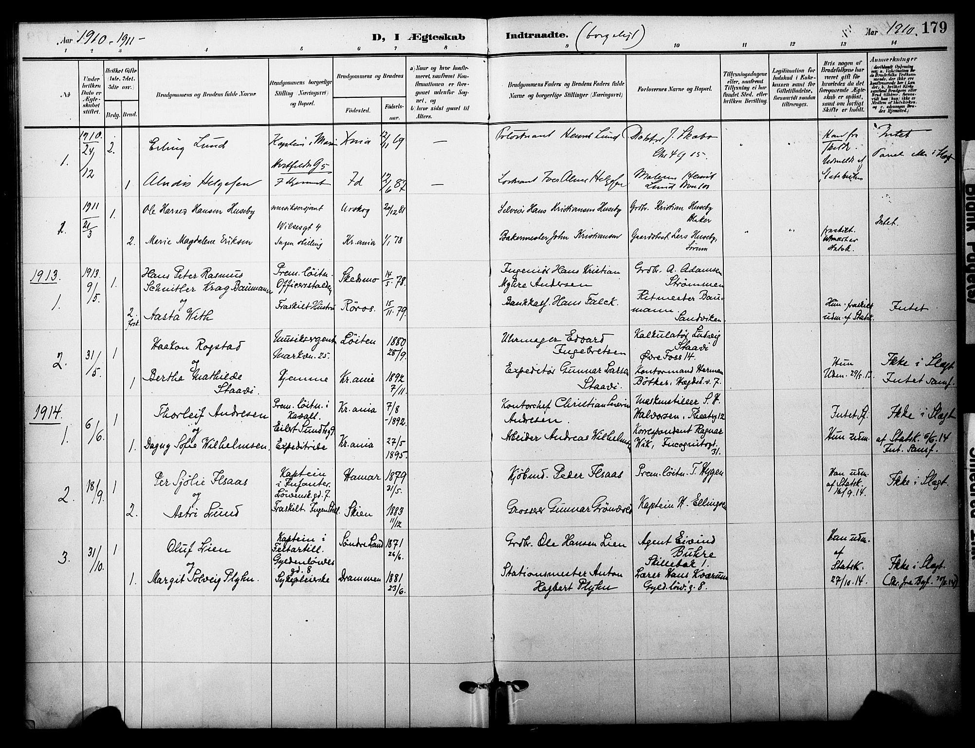 SAO, Garnisonsmenigheten Kirkebøker, F/Fa/L0014: Ministerialbok nr. 14, 1905-1914, s. 179