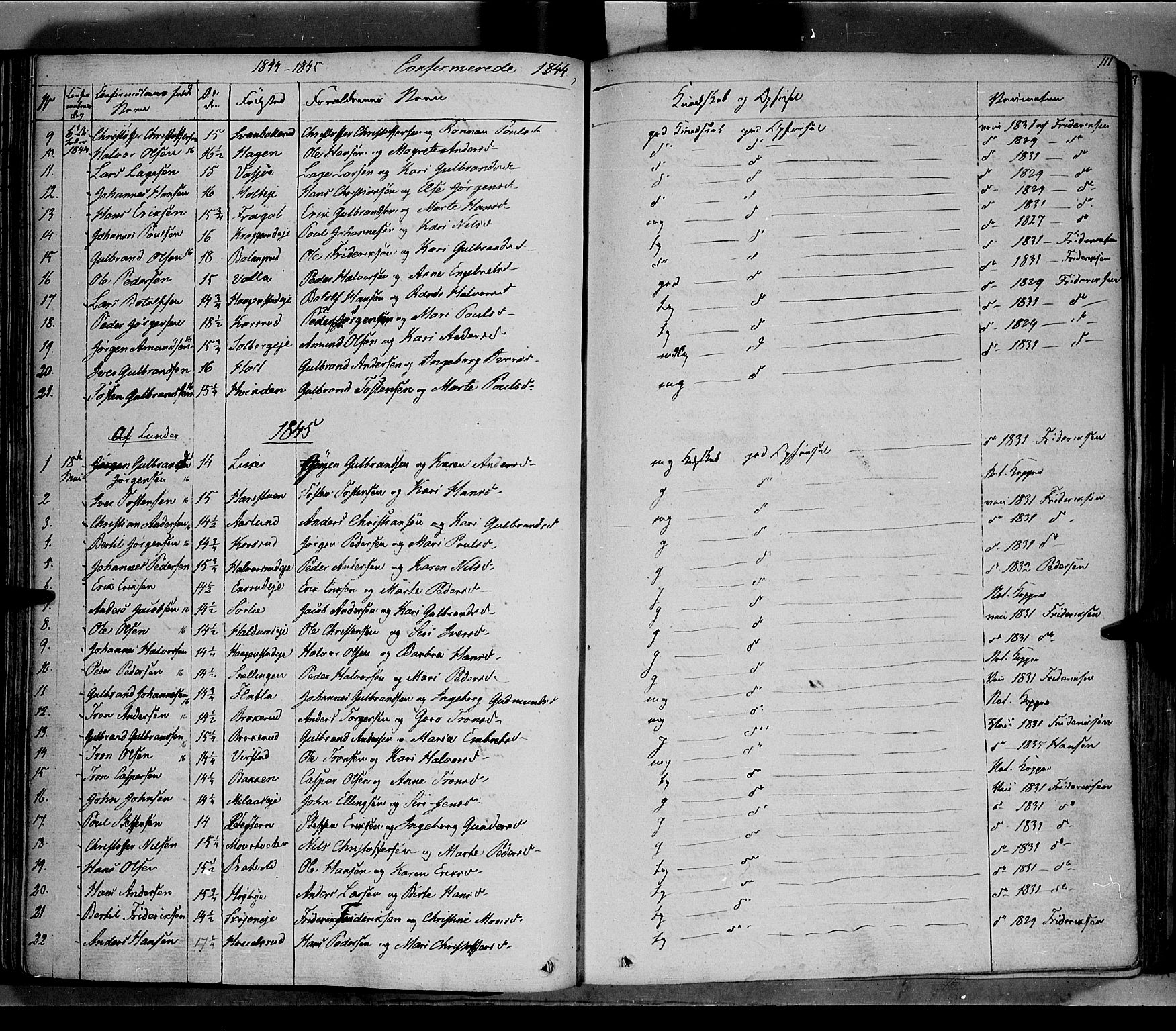 SAH, Jevnaker prestekontor, Ministerialbok nr. 6, 1837-1857, s. 111