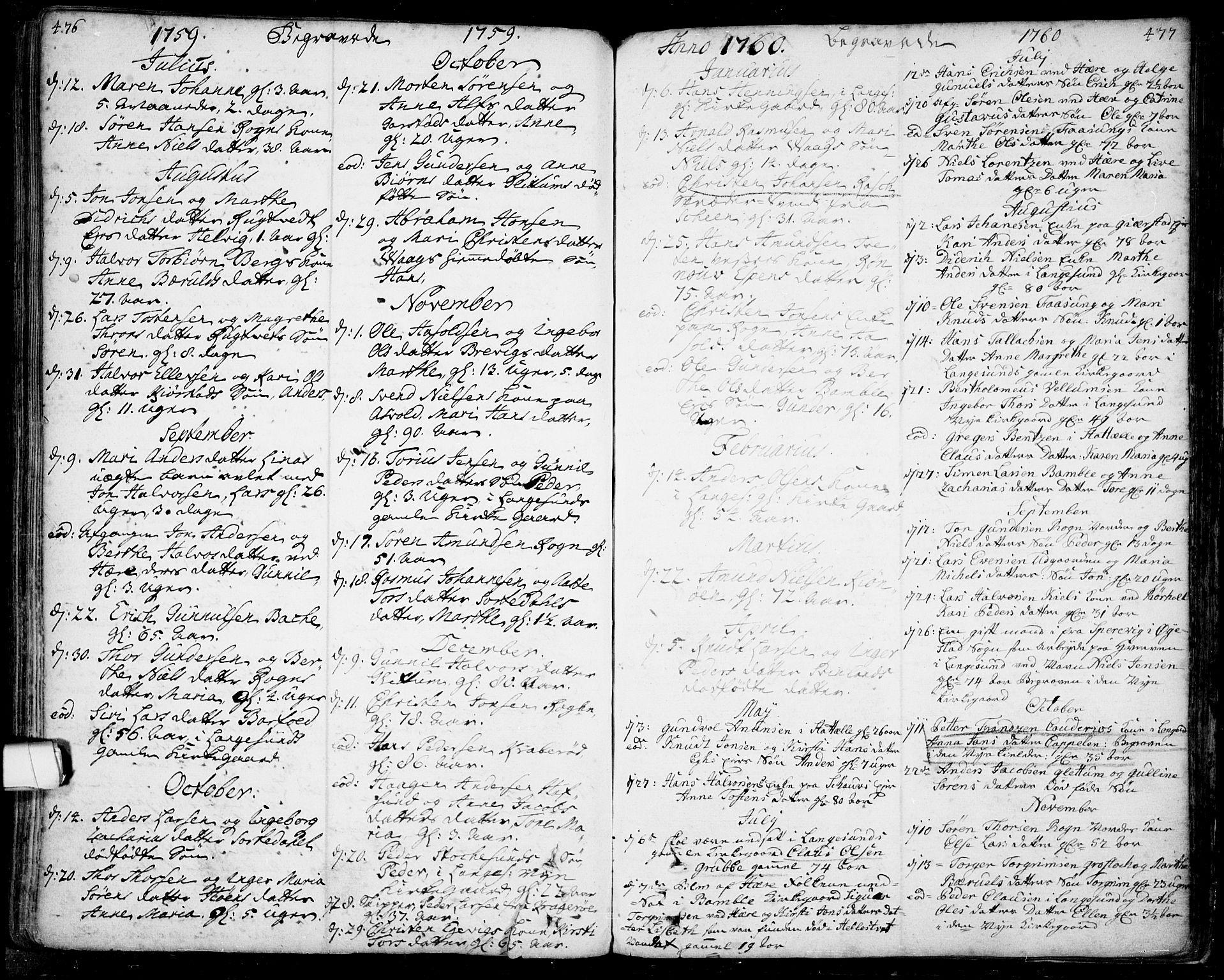 SAKO, Bamble kirkebøker, F/Fa/L0001: Ministerialbok nr. I 1, 1702-1774, s. 476-477
