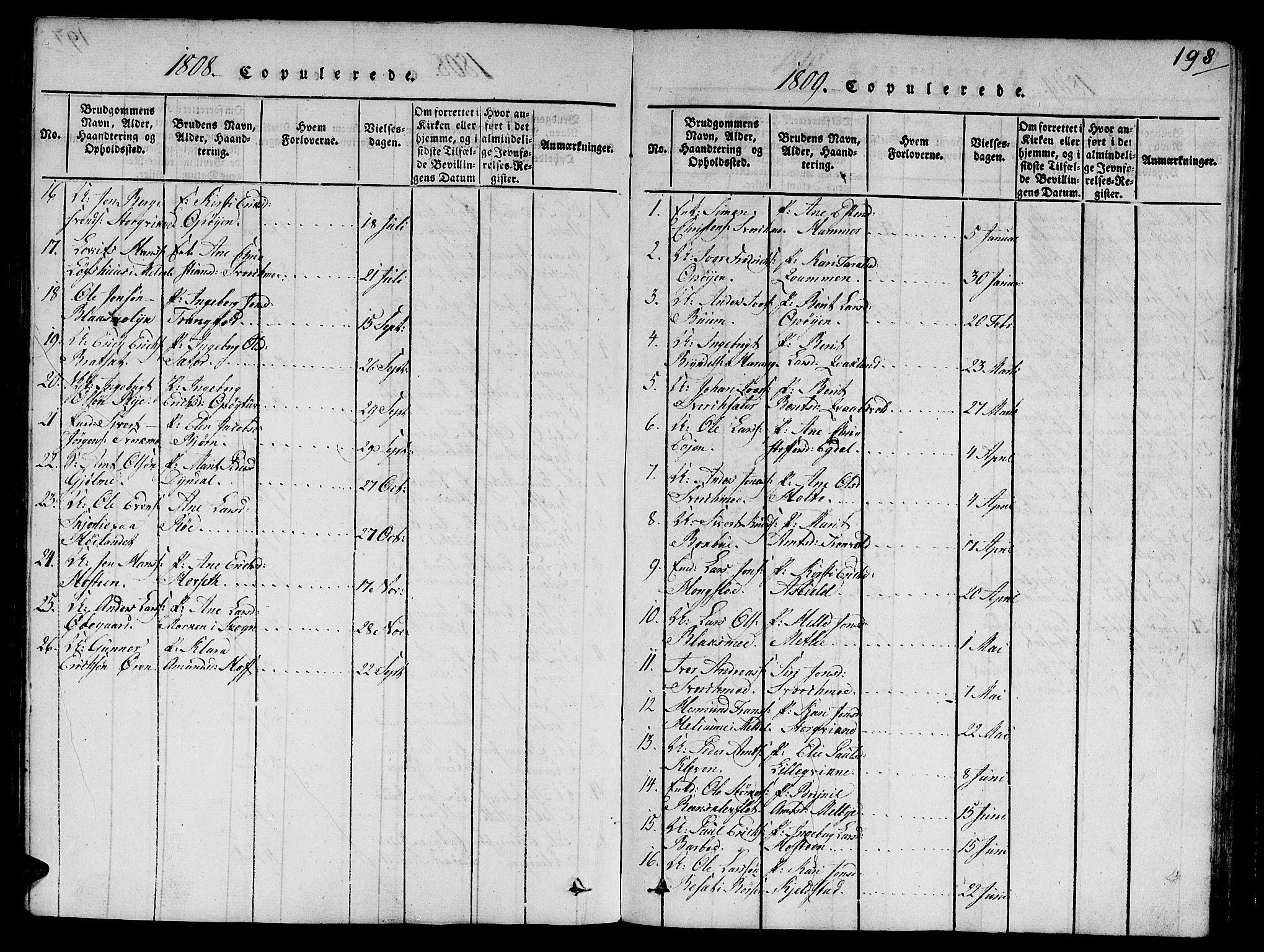 SAT, Ministerialprotokoller, klokkerbøker og fødselsregistre - Sør-Trøndelag, 668/L0803: Ministerialbok nr. 668A03, 1800-1826, s. 198