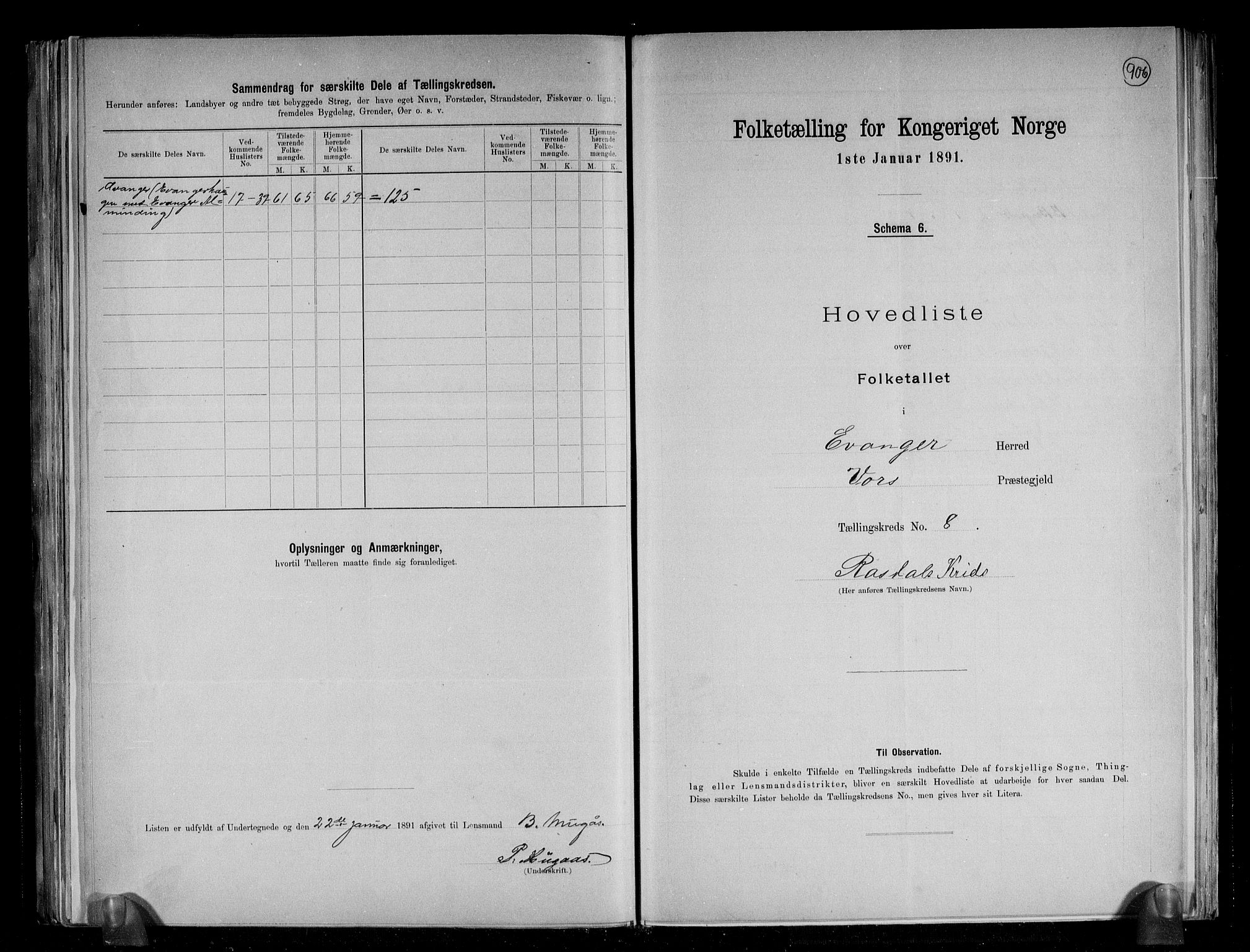 RA, Folketelling 1891 for 1237 Evanger herred, 1891, s. 19