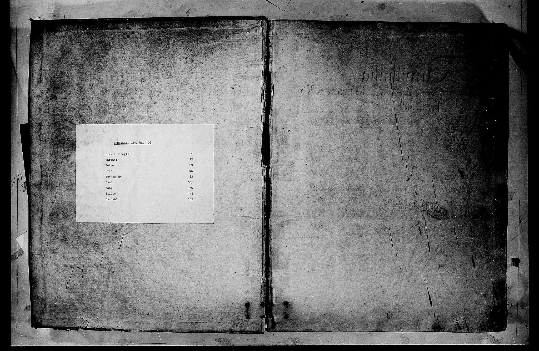 RA, Rentekammeret inntil 1814, Realistisk ordnet avdeling, N/Nb/Nbf/L0105: Hadeland, Toten og Valdres matrikkelprotokoll, 1723, s. upaginert