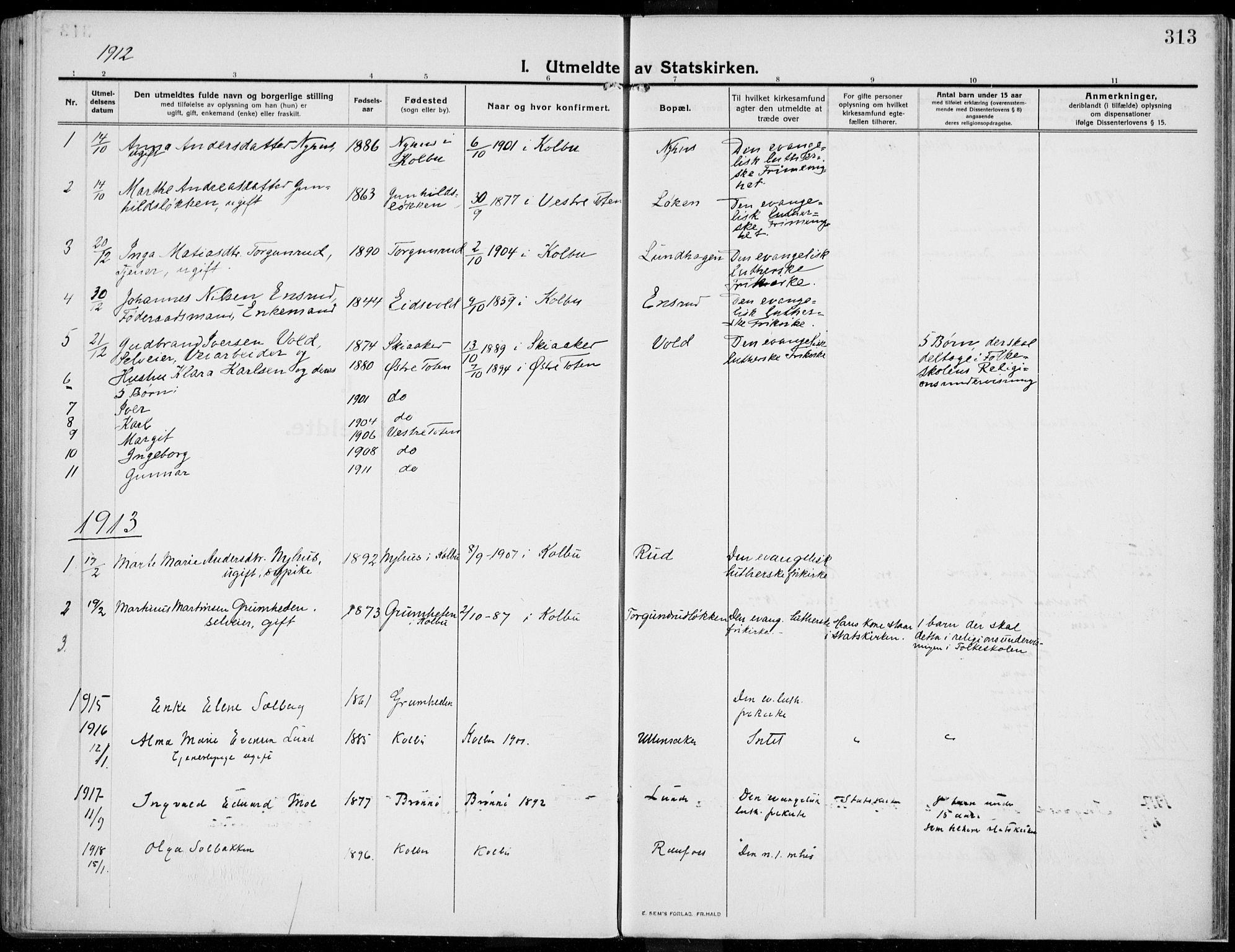 SAH, Kolbu prestekontor, Ministerialbok nr. 2, 1912-1926, s. 313