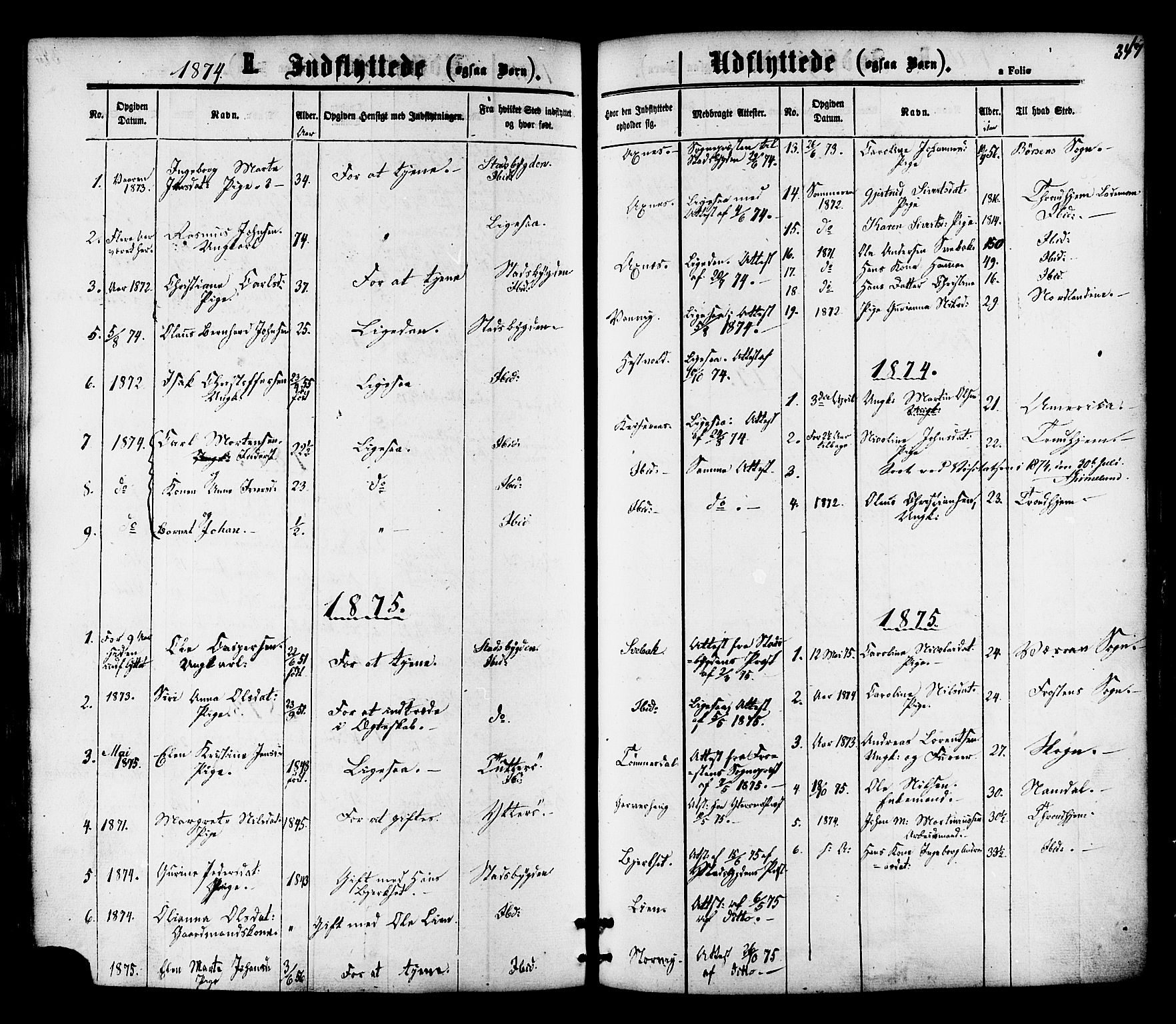 SAT, Ministerialprotokoller, klokkerbøker og fødselsregistre - Nord-Trøndelag, 701/L0009: Ministerialbok nr. 701A09 /1, 1864-1882, s. 347