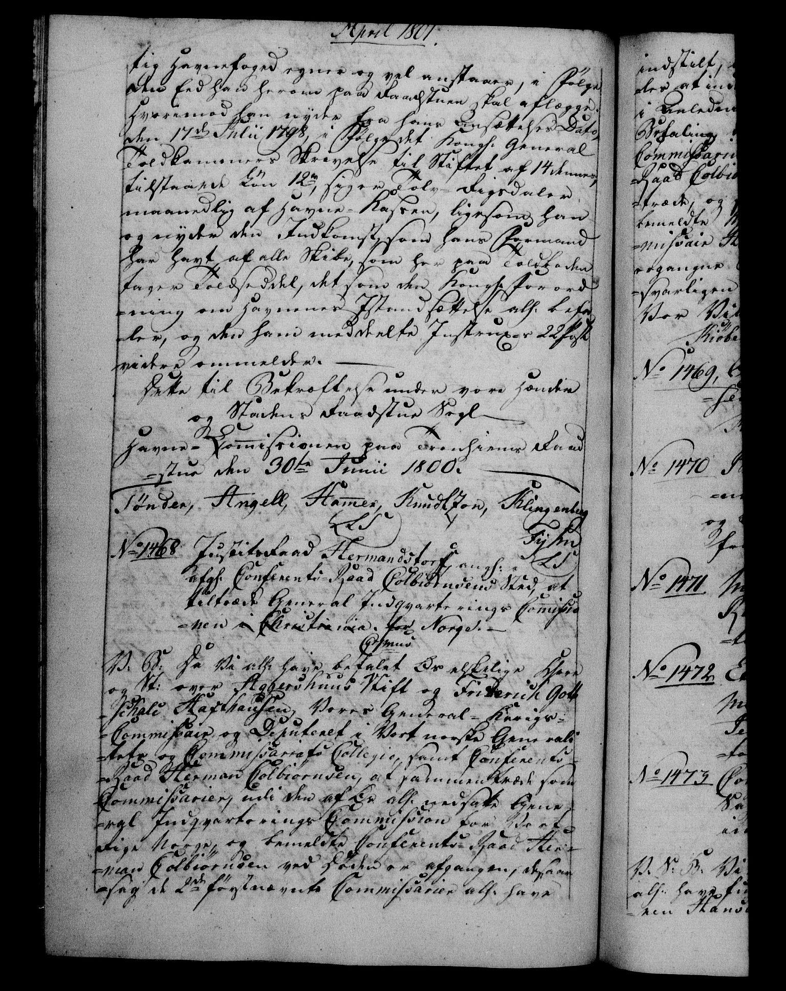 RA, Danske Kanselli 1800-1814, H/Hf/Hfb/Hfba/L0001: Registranter, 1800-1801, s. 382b