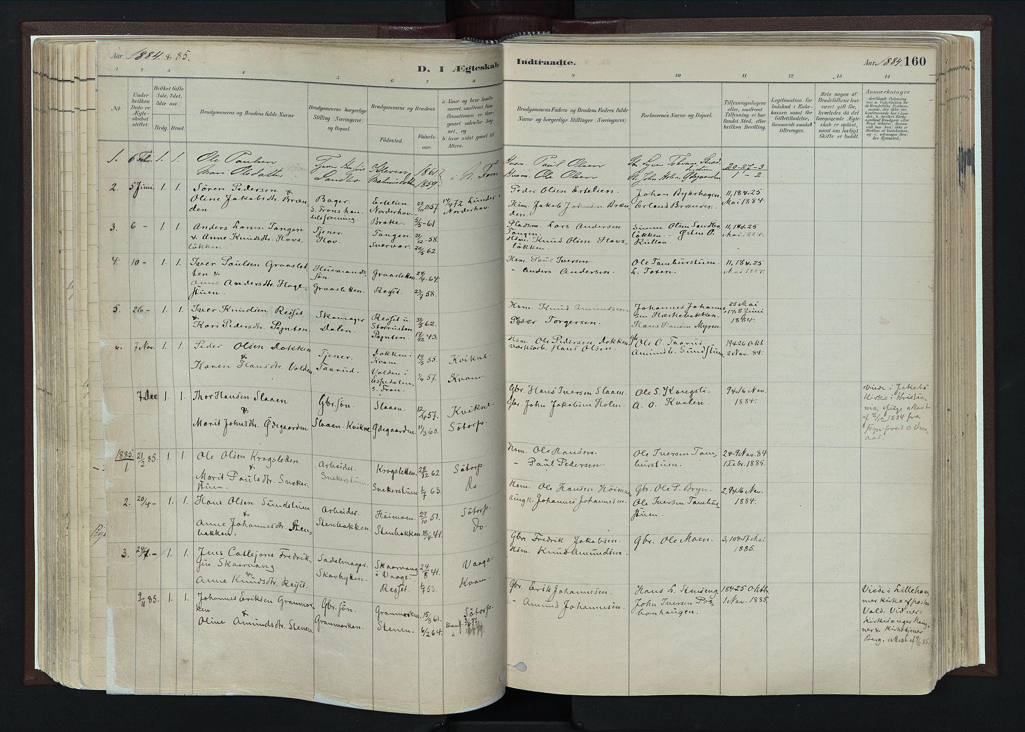 SAH, Nord-Fron prestekontor, Ministerialbok nr. 4, 1884-1914, s. 160