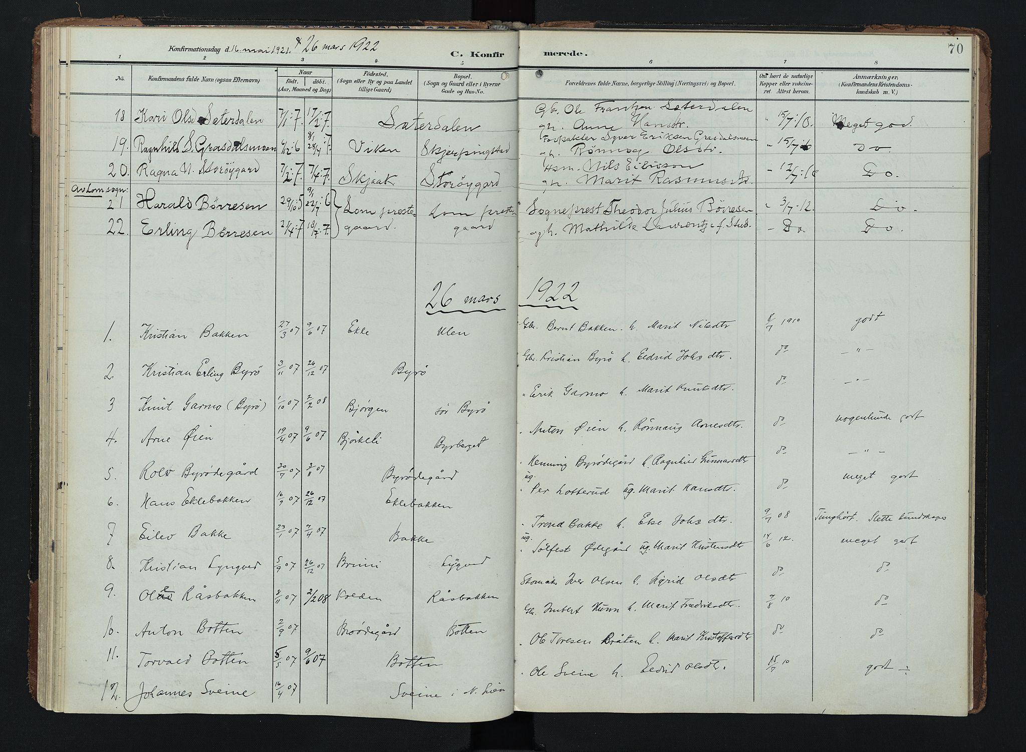 SAH, Lom prestekontor, K/L0011: Ministerialbok nr. 11, 1904-1928, s. 70