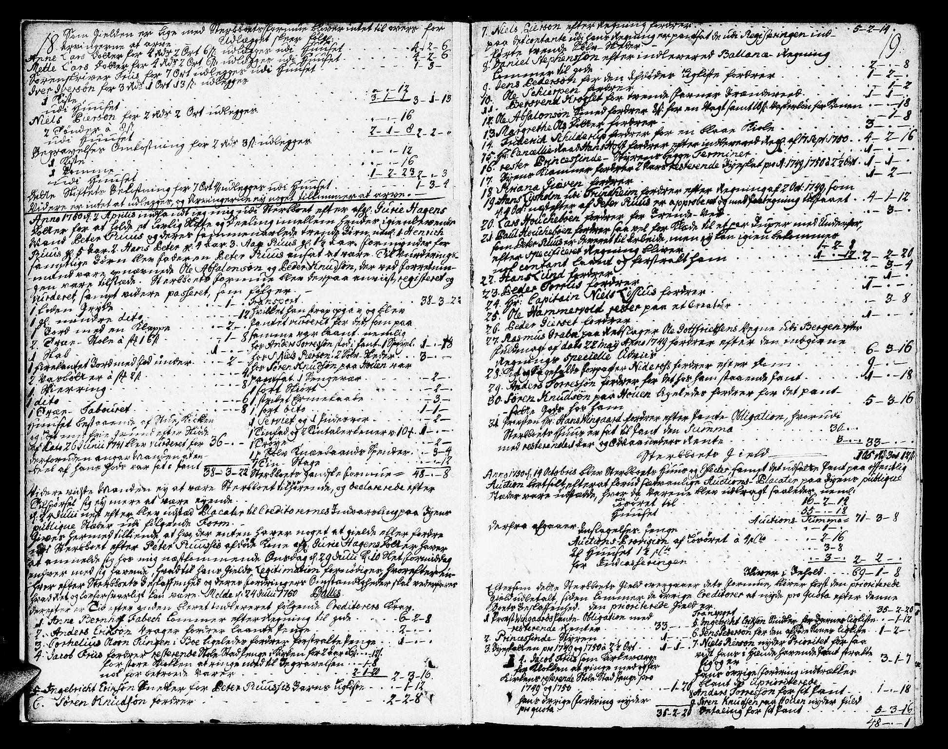 SAT, Molde byfogd, 3/3Aa/L0001: Skifteprotokoll, 1748-1768, s. 18-19