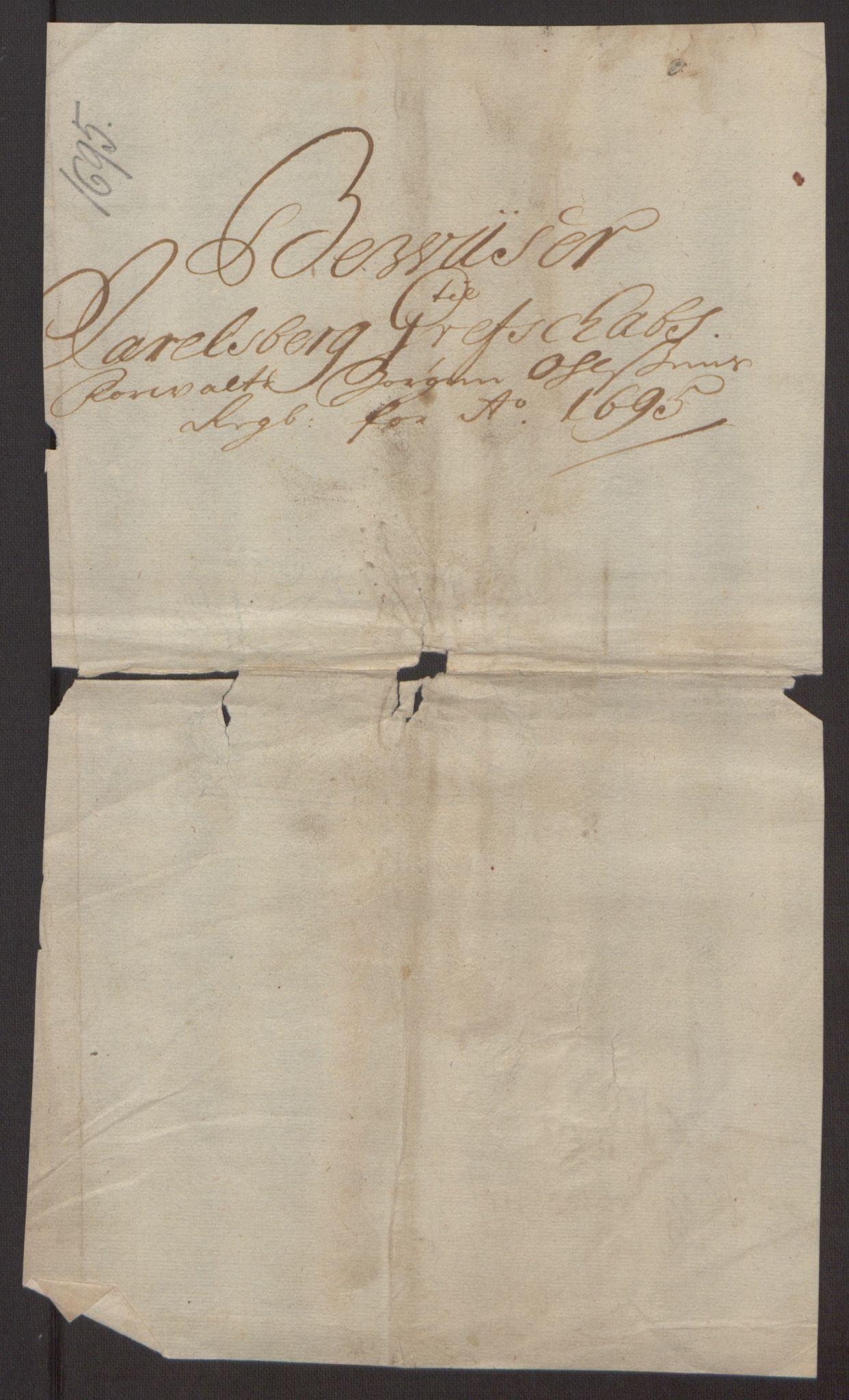 RA, Rentekammeret inntil 1814, Reviderte regnskaper, Fogderegnskap, R32/L1867: Fogderegnskap Jarlsberg grevskap, 1694-1696, s. 195