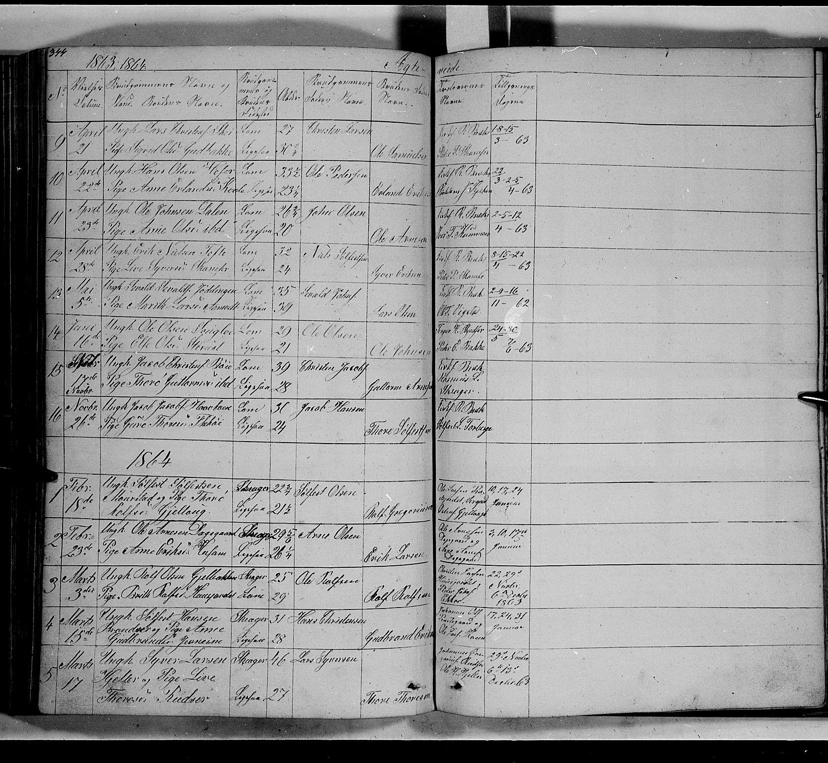 SAH, Lom prestekontor, L/L0004: Klokkerbok nr. 4, 1845-1864, s. 344-345