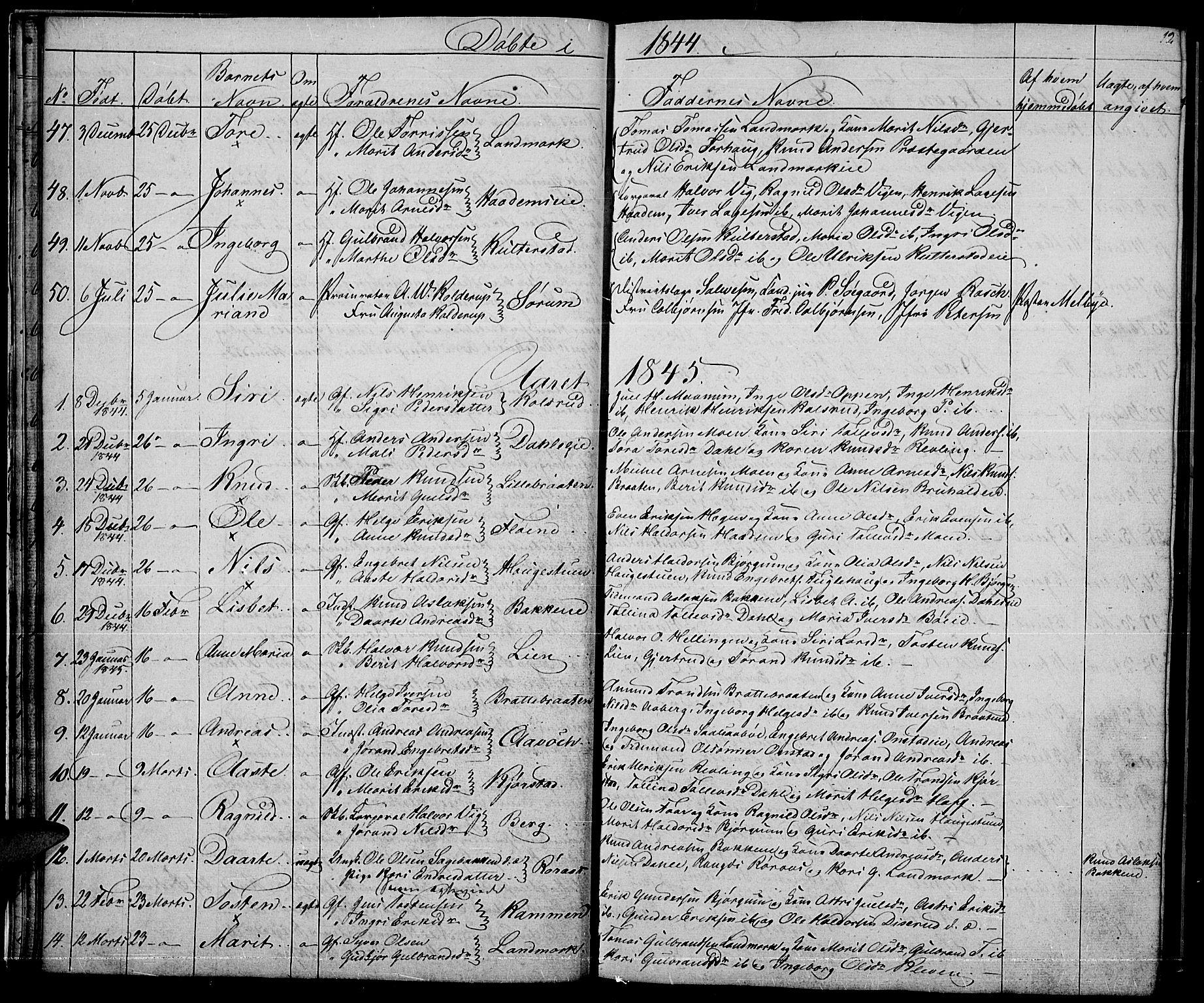 SAH, Nord-Aurdal prestekontor, Klokkerbok nr. 2, 1842-1877, s. 12