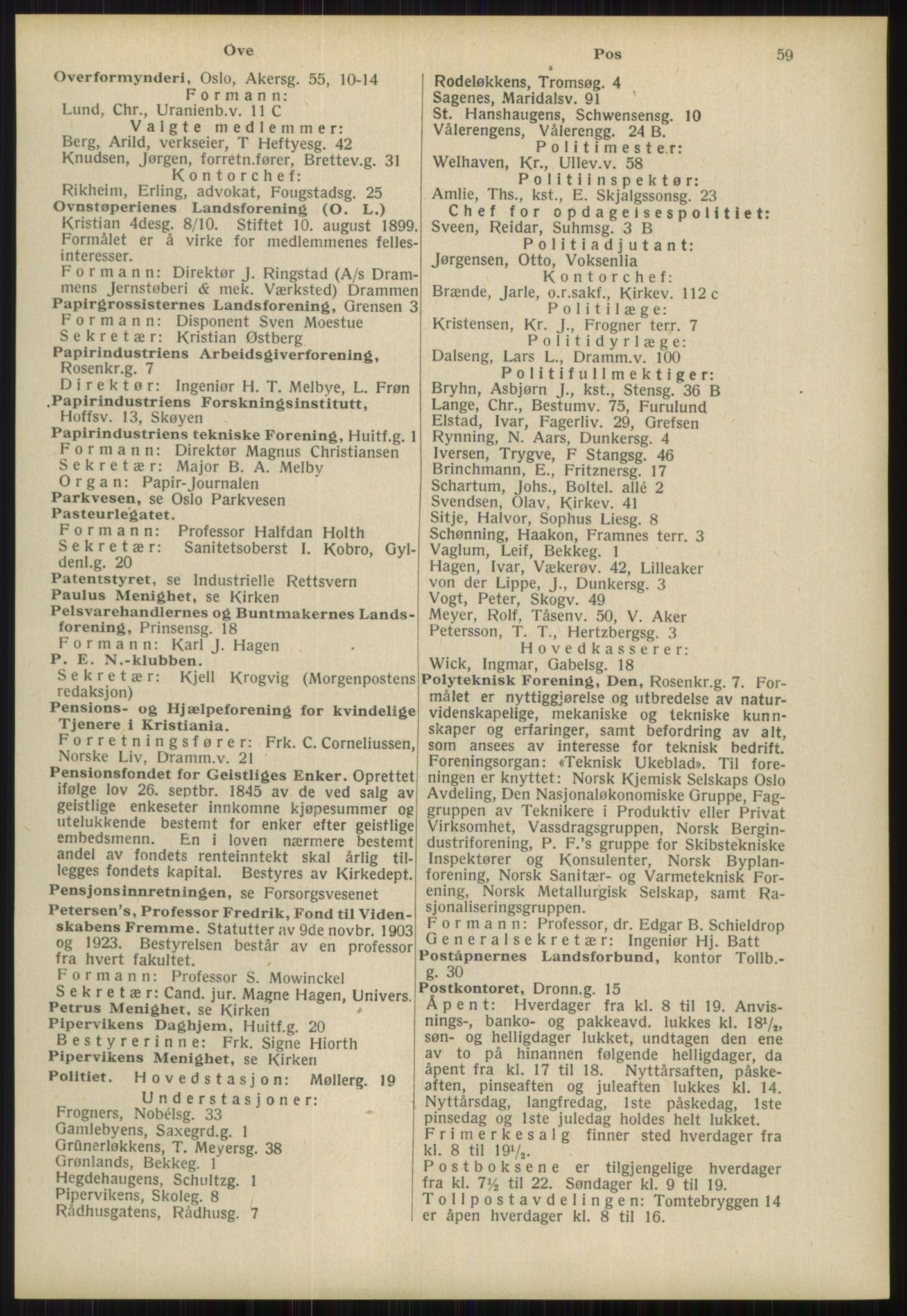 RA, Oslo adressebok (publikasjon)*, 1939, s. 59