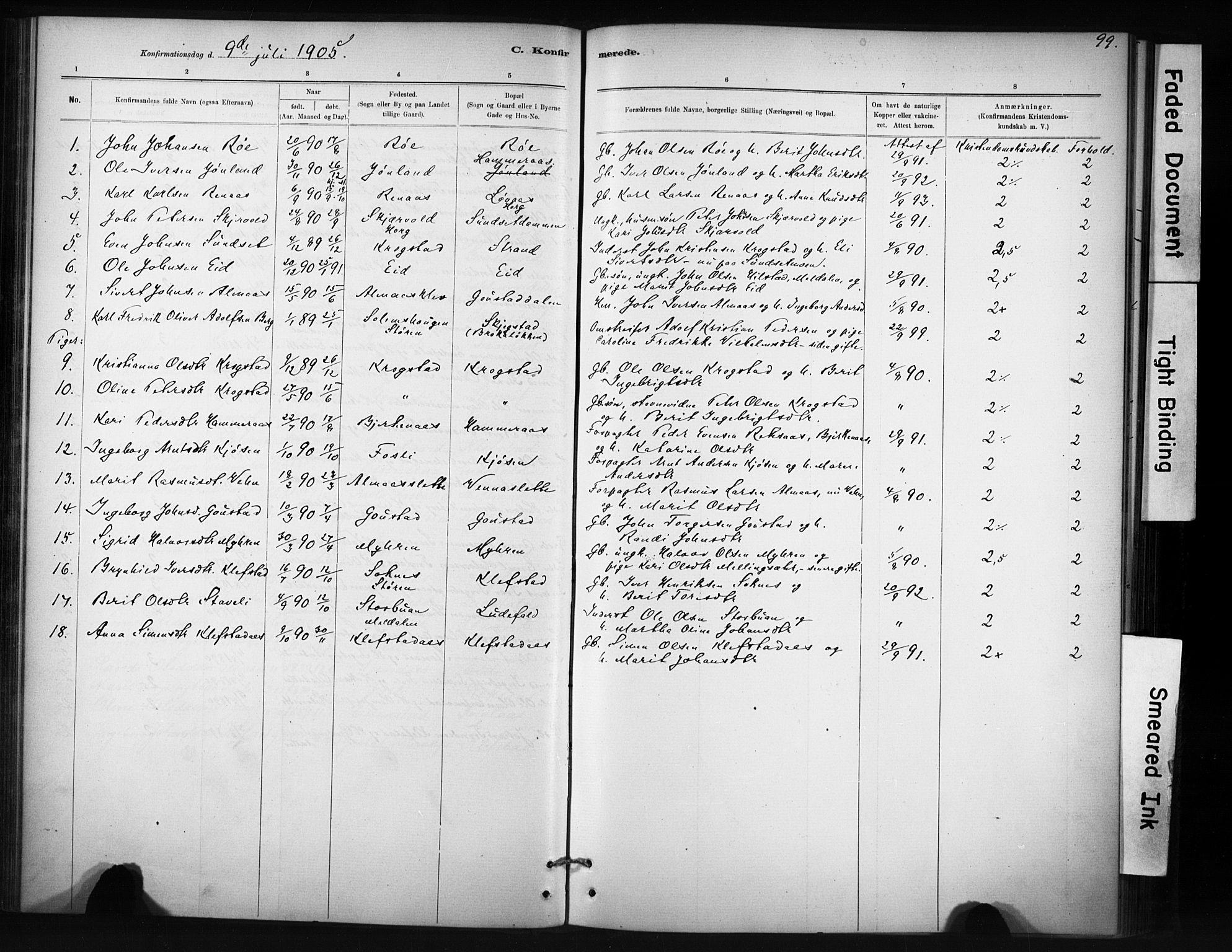 SAT, Ministerialprotokoller, klokkerbøker og fødselsregistre - Sør-Trøndelag, 694/L1127: Ministerialbok nr. 694A01, 1887-1905, s. 99