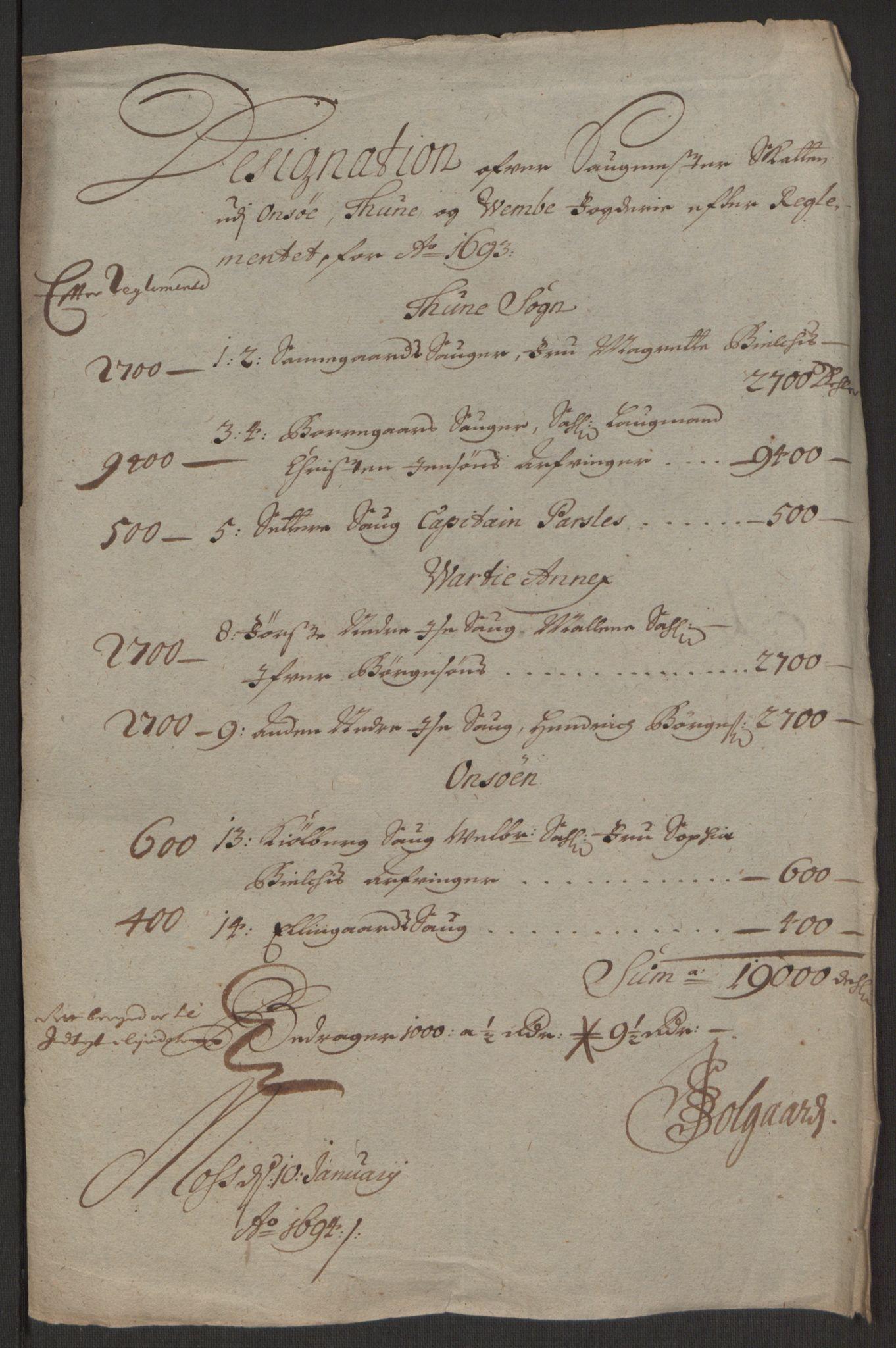 RA, Rentekammeret inntil 1814, Reviderte regnskaper, Fogderegnskap, R03/L0120: Fogderegnskap Onsøy, Tune, Veme og Åbygge fogderi, 1692-1693, s. 359