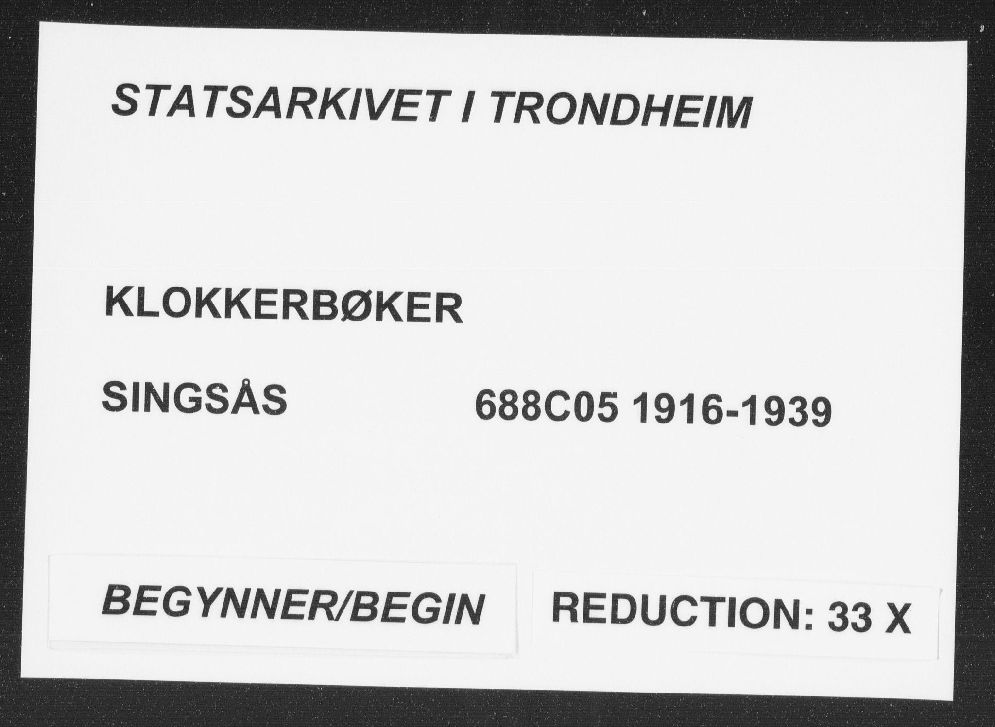 SAT, Ministerialprotokoller, klokkerbøker og fødselsregistre - Sør-Trøndelag, 688/L1030: Klokkerbok nr. 688C05, 1916-1939