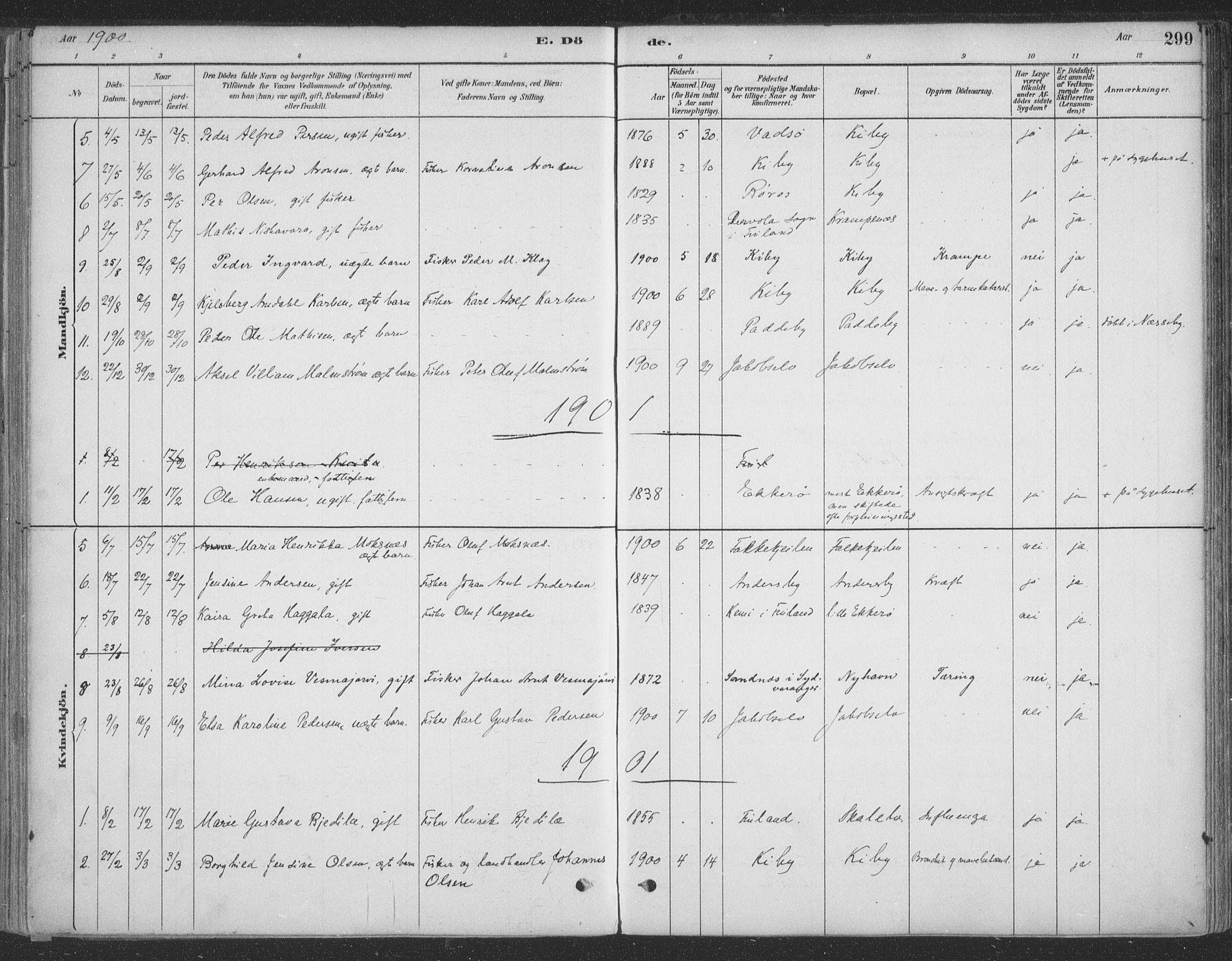 SATØ, Vadsø sokneprestkontor, H/Ha/L0009kirke: Ministerialbok nr. 9, 1881-1917, s. 299