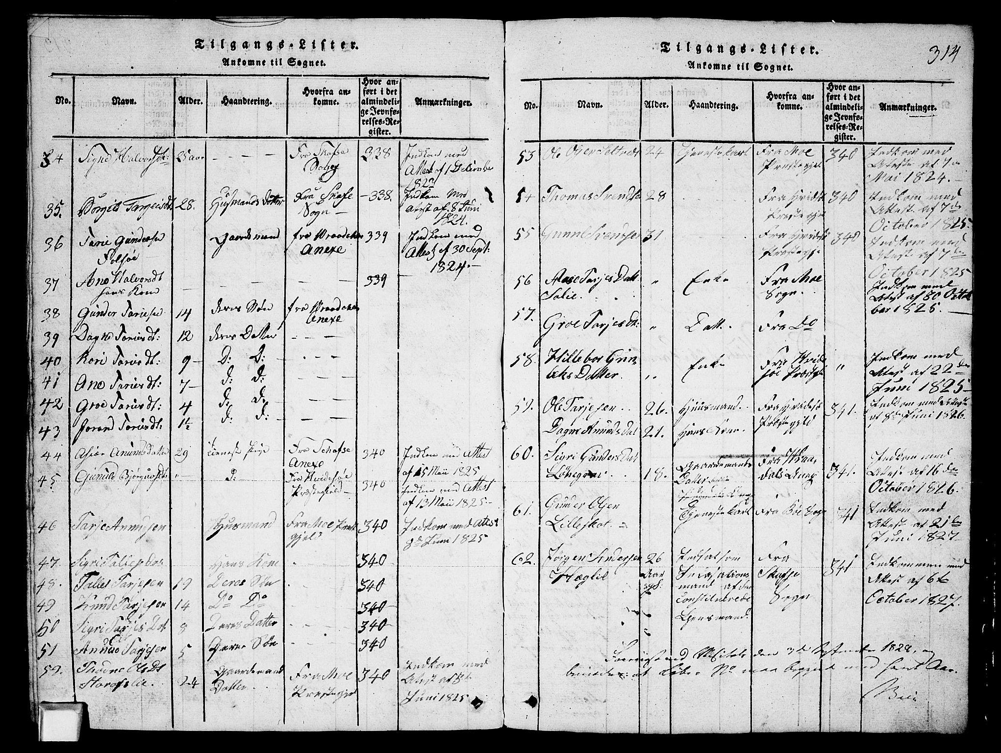 SAKO, Fyresdal kirkebøker, G/Ga/L0003: Klokkerbok nr. I 3, 1815-1863, s. 314