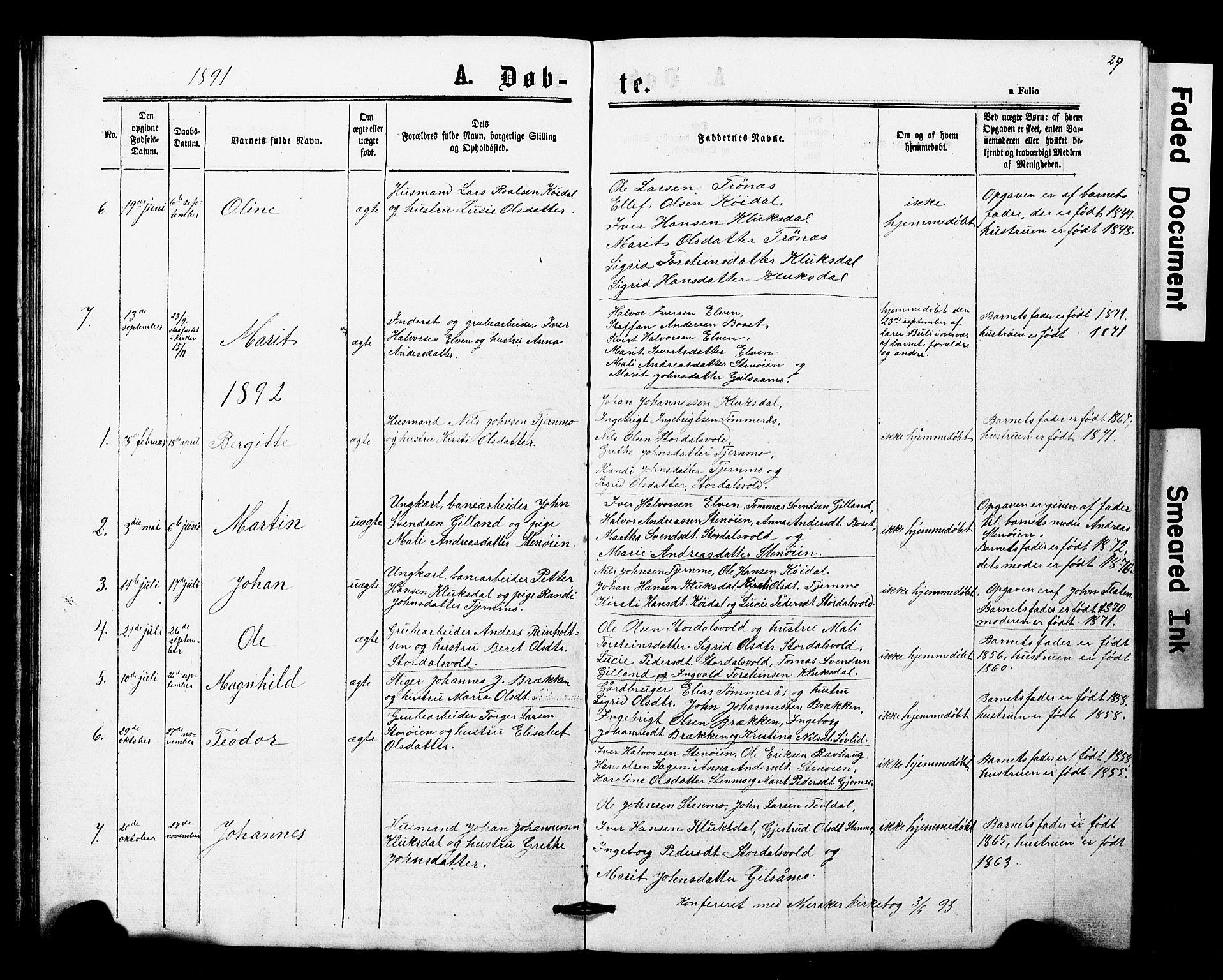 SAT, Ministerialprotokoller, klokkerbøker og fødselsregistre - Nord-Trøndelag, 707/L0052: Klokkerbok nr. 707C01, 1864-1897, s. 29