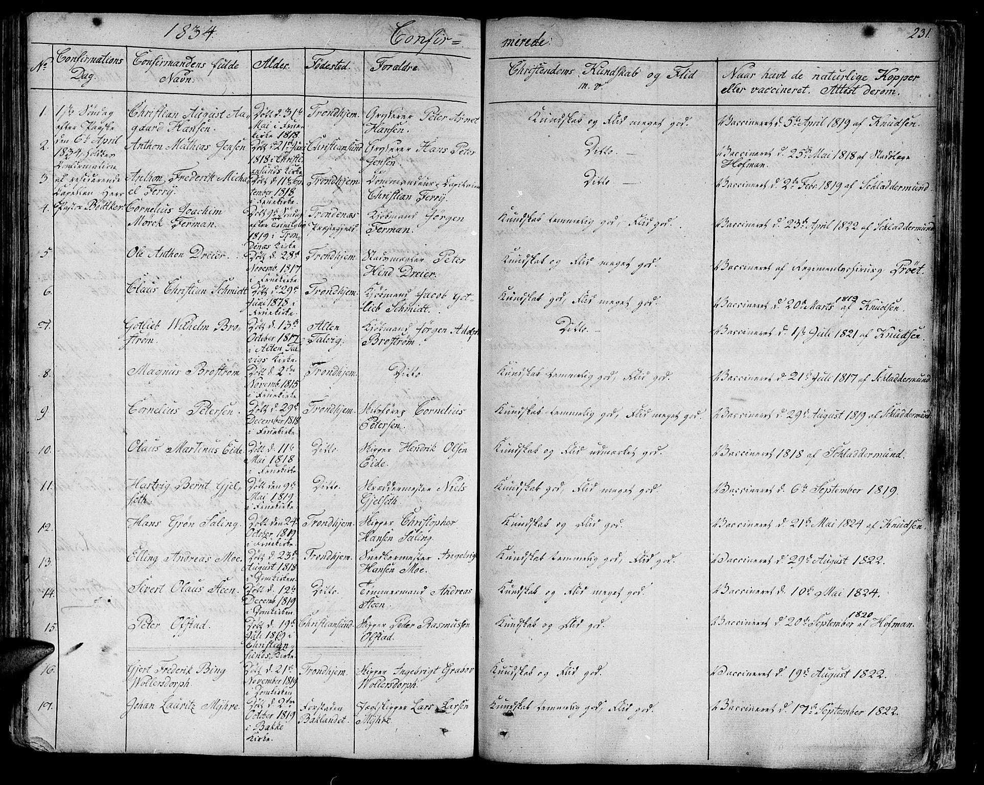 SAT, Ministerialprotokoller, klokkerbøker og fødselsregistre - Sør-Trøndelag, 602/L0108: Ministerialbok nr. 602A06, 1821-1839, s. 231