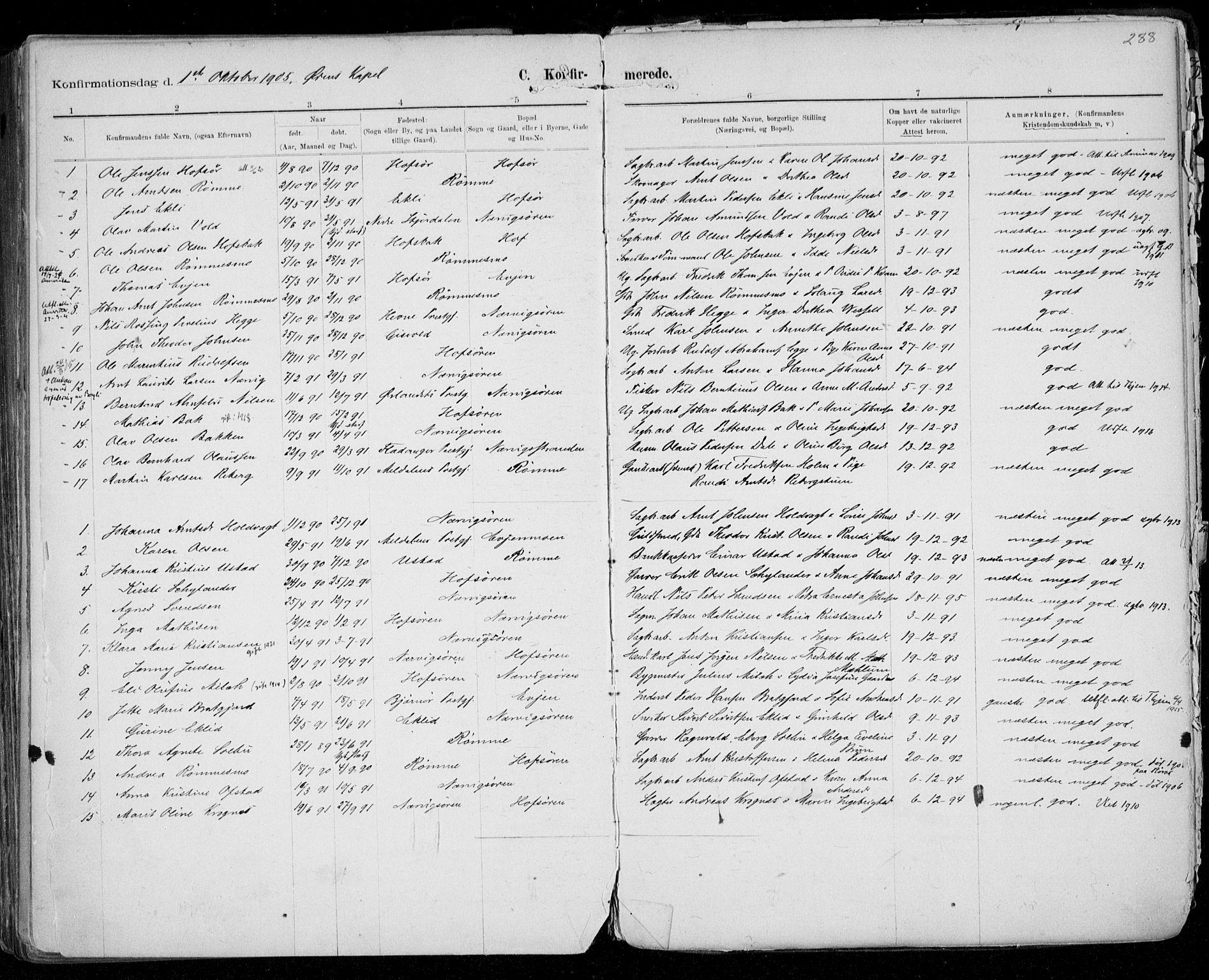 SAT, Ministerialprotokoller, klokkerbøker og fødselsregistre - Sør-Trøndelag, 668/L0811: Ministerialbok nr. 668A11, 1894-1913, s. 288