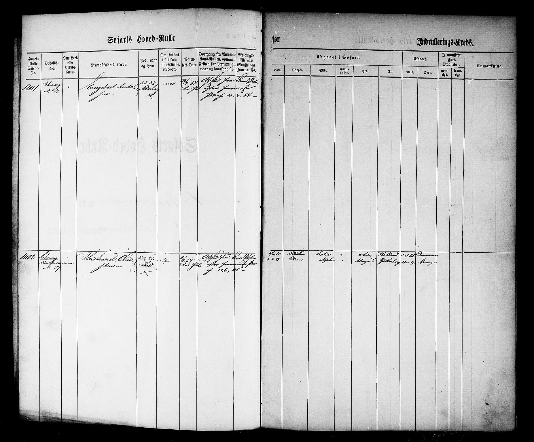 SAO, Oslo mønstringskontor, F/Fc/Fcb/L0002: Hovedrulle, 1864, s. 1