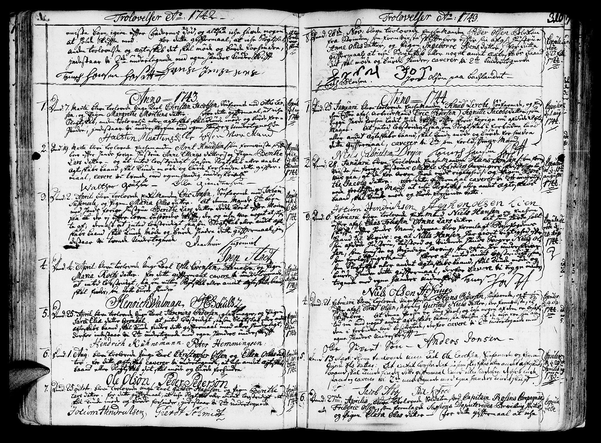 SAT, Ministerialprotokoller, klokkerbøker og fødselsregistre - Sør-Trøndelag, 602/L0103: Ministerialbok nr. 602A01, 1732-1774, s. 316