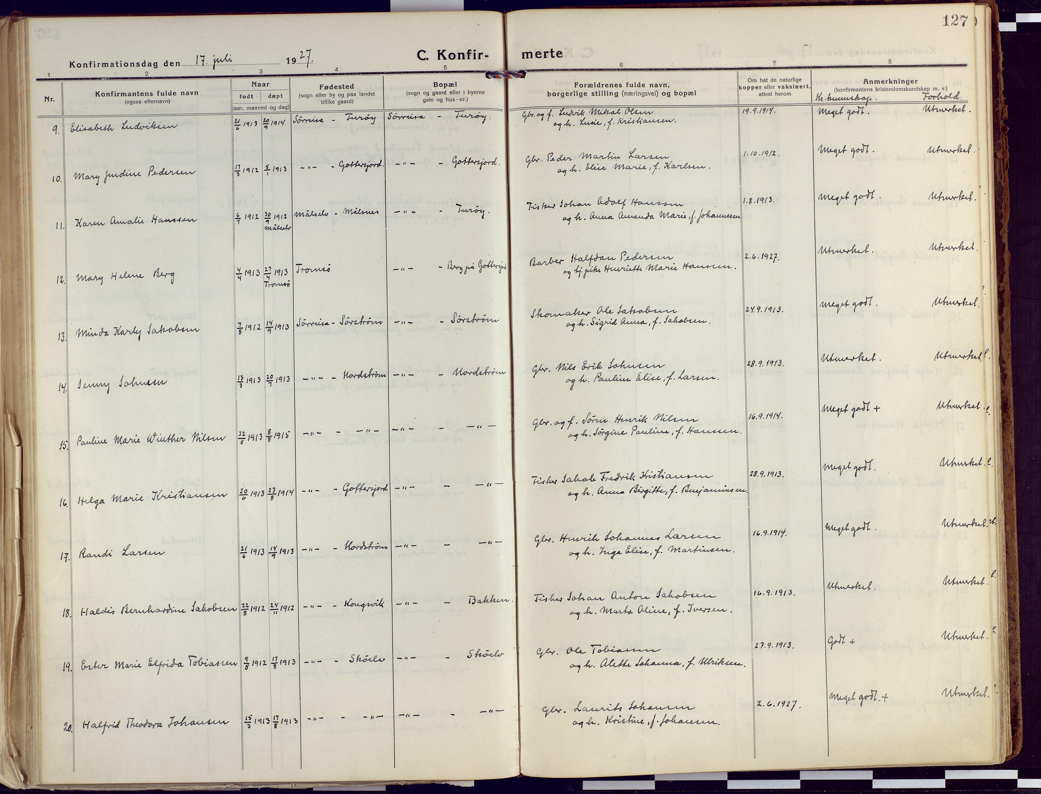 SATØ, Tranøy sokneprestkontor, I/Ia/Iaa/L0015kirke: Ministerialbok nr. 15, 1919-1928, s. 127