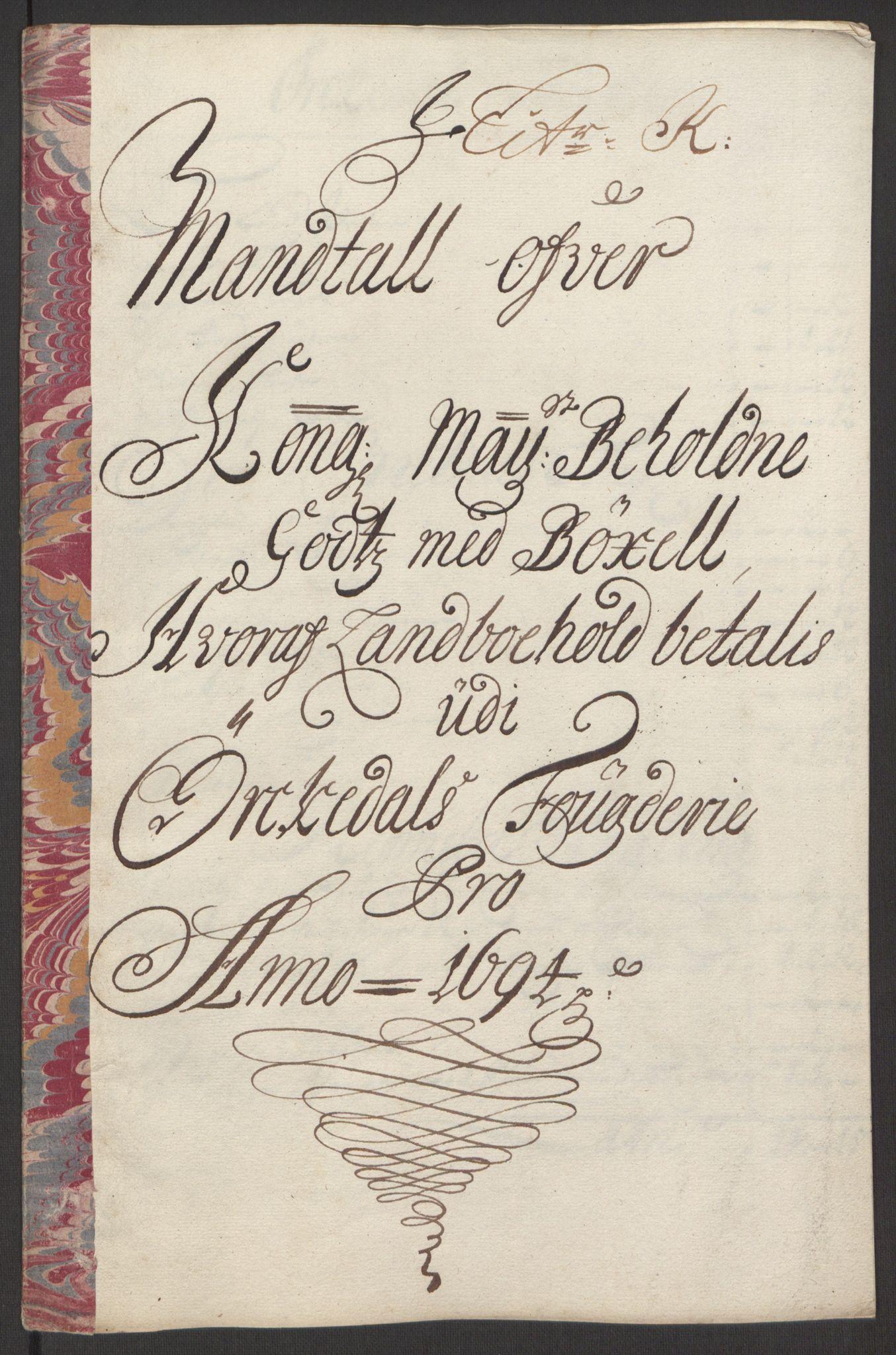 RA, Rentekammeret inntil 1814, Reviderte regnskaper, Fogderegnskap, R60/L3944: Fogderegnskap Orkdal og Gauldal, 1694, s. 133