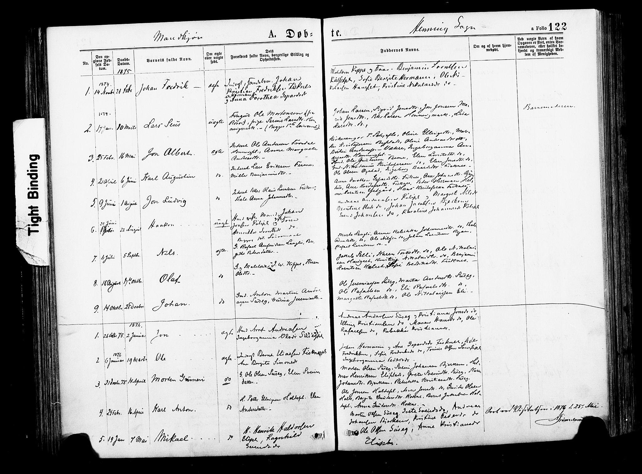 SAT, Ministerialprotokoller, klokkerbøker og fødselsregistre - Nord-Trøndelag, 735/L0348: Ministerialbok nr. 735A09 /3, 1873-1883, s. 122