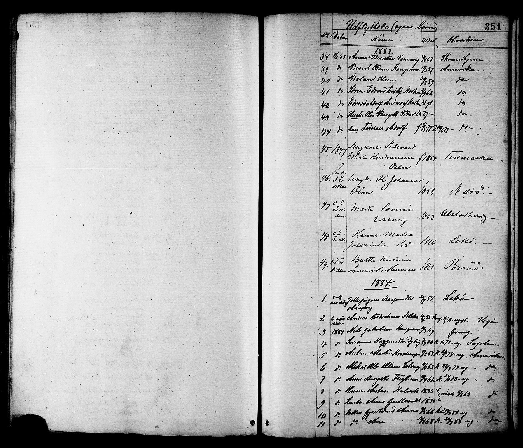 SAT, Ministerialprotokoller, klokkerbøker og fødselsregistre - Nord-Trøndelag, 780/L0642: Ministerialbok nr. 780A07 /1, 1874-1885, s. 351
