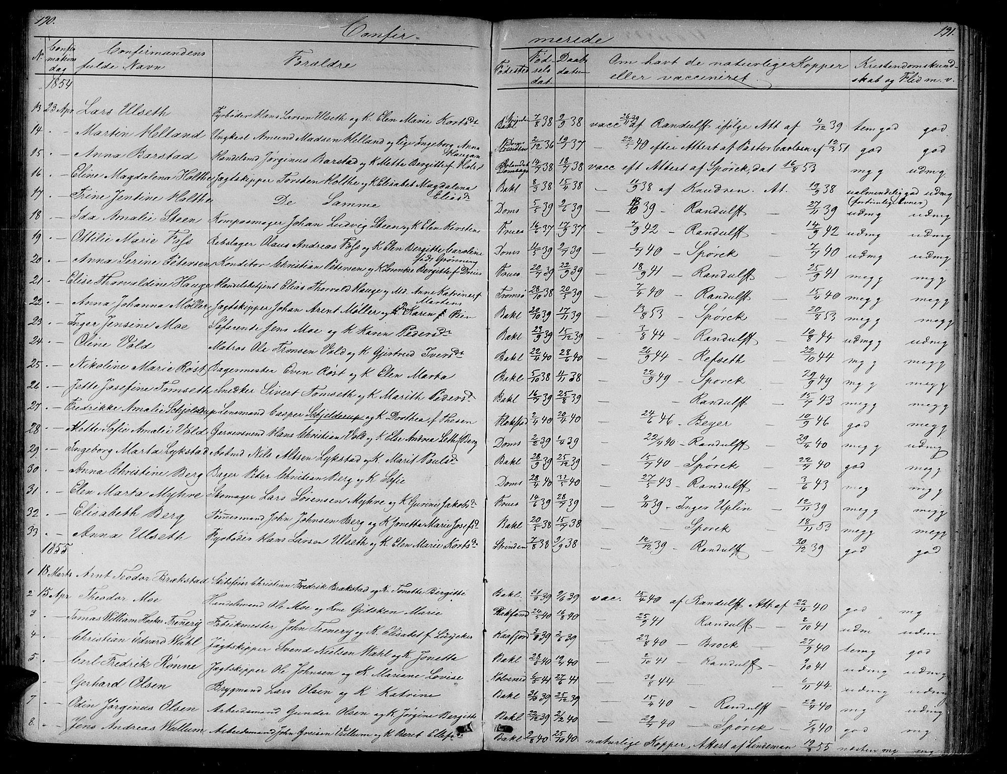 SAT, Ministerialprotokoller, klokkerbøker og fødselsregistre - Sør-Trøndelag, 604/L0219: Klokkerbok nr. 604C02, 1851-1869, s. 190-191