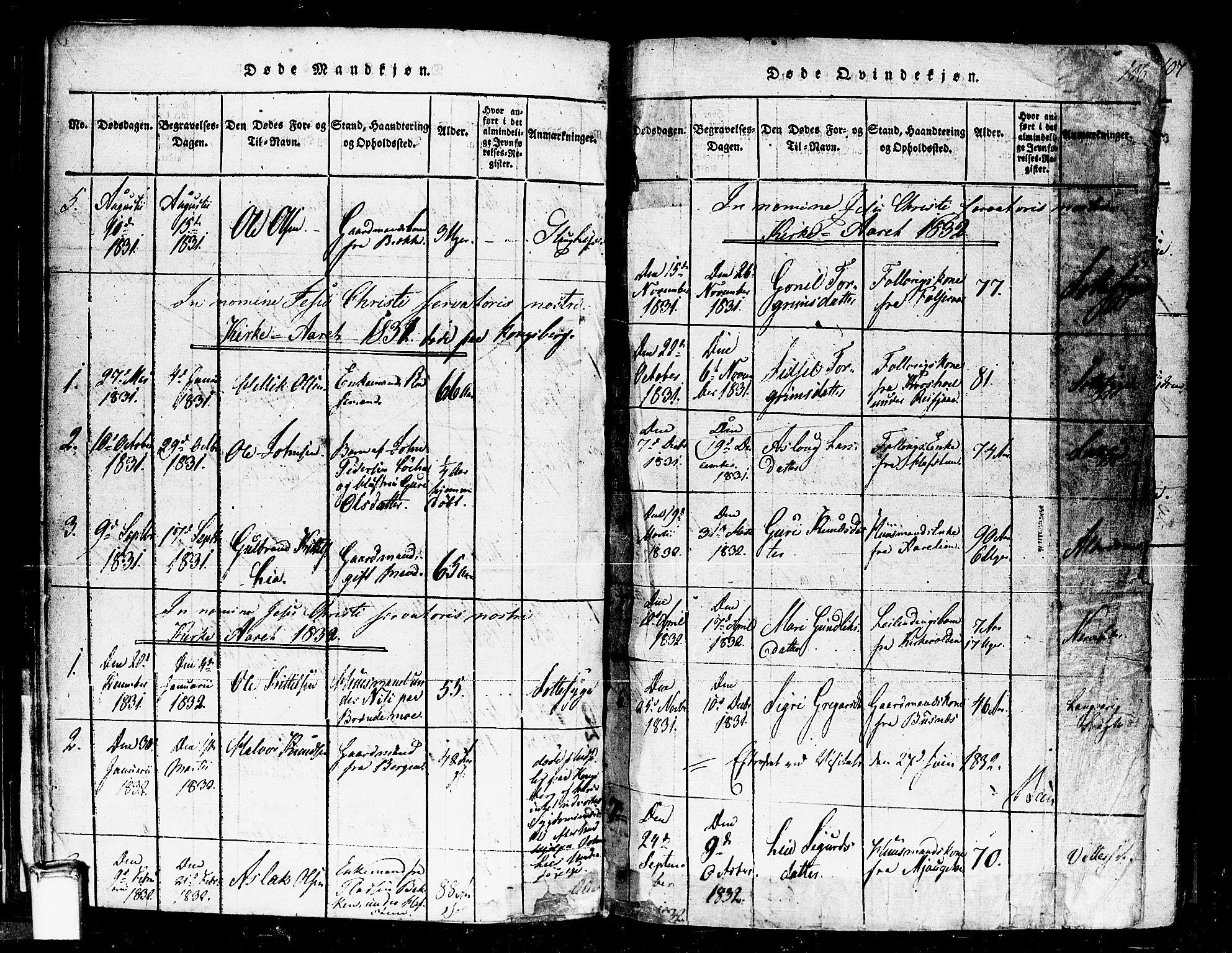 SAKO, Gransherad kirkebøker, F/Fa/L0001: Ministerialbok nr. I 1, 1815-1843, s. 106