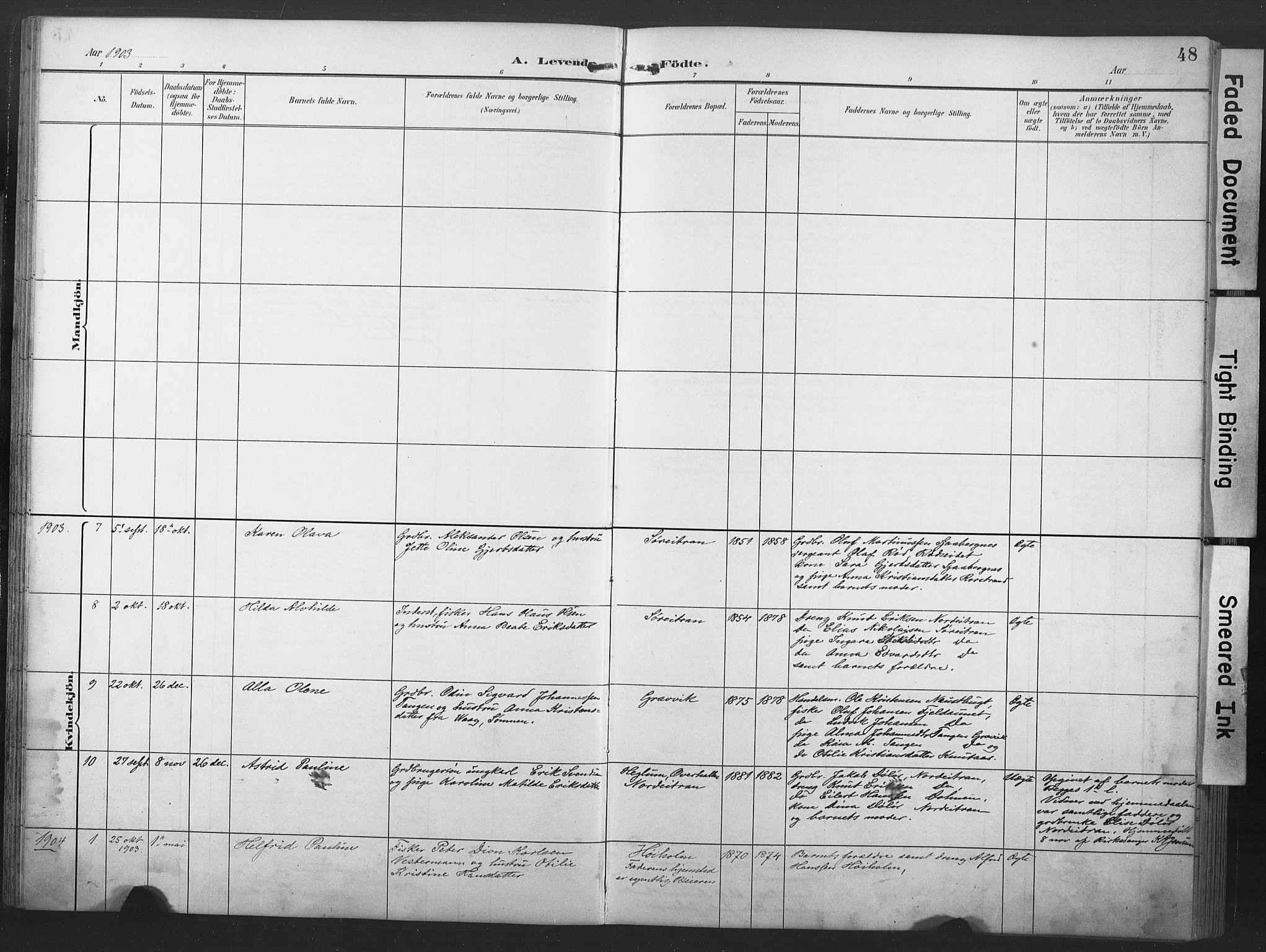 SAT, Ministerialprotokoller, klokkerbøker og fødselsregistre - Nord-Trøndelag, 789/L0706: Klokkerbok nr. 789C01, 1888-1931, s. 48