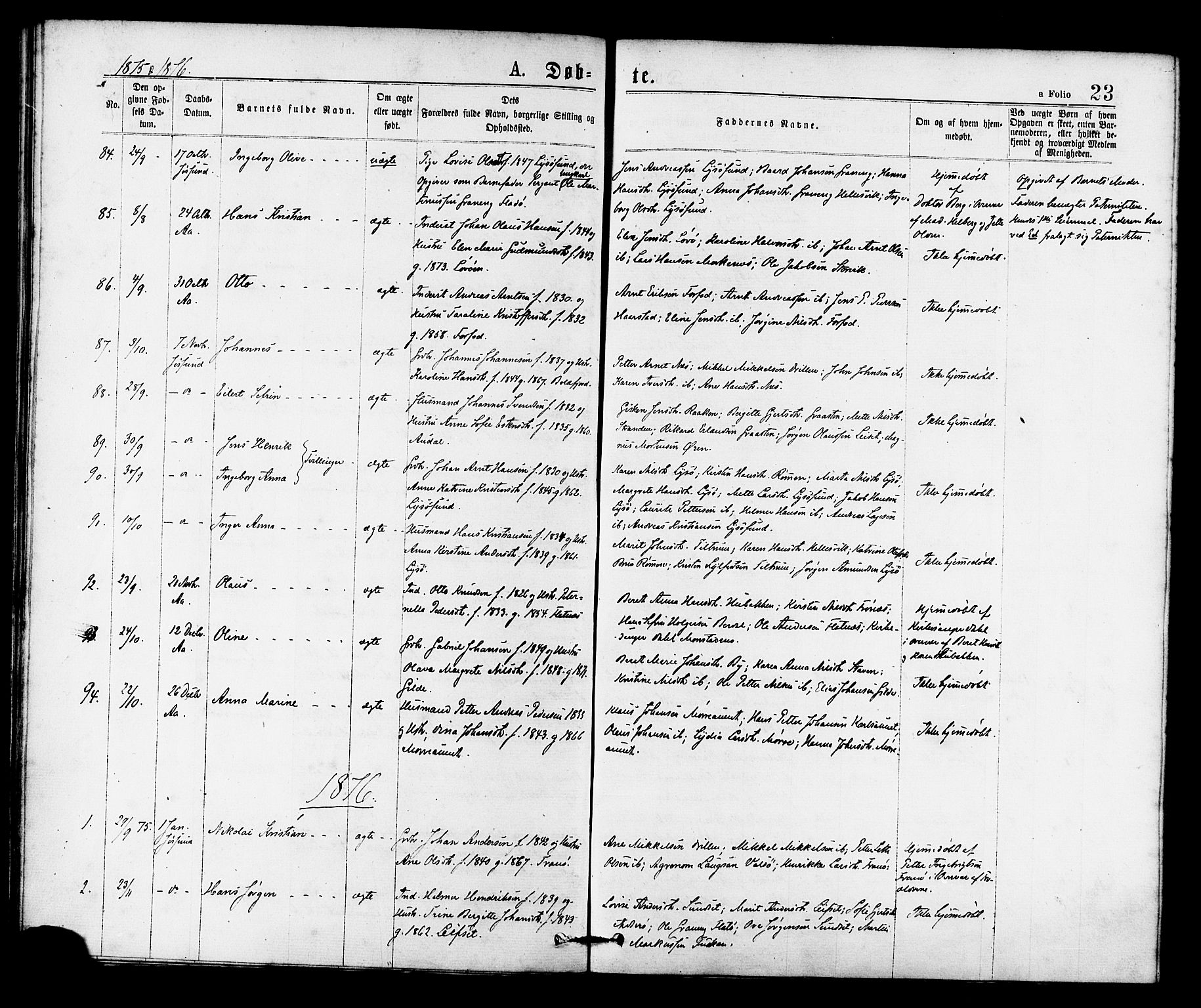 SAT, Ministerialprotokoller, klokkerbøker og fødselsregistre - Sør-Trøndelag, 655/L0679: Ministerialbok nr. 655A08, 1873-1879, s. 23