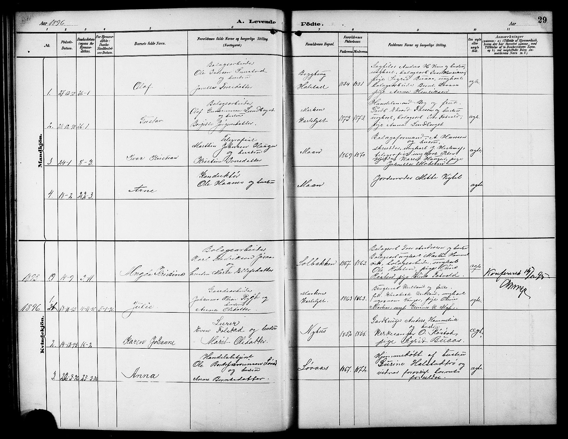 SAT, Ministerialprotokoller, klokkerbøker og fødselsregistre - Sør-Trøndelag, 617/L0431: Klokkerbok nr. 617C01, 1889-1910, s. 29